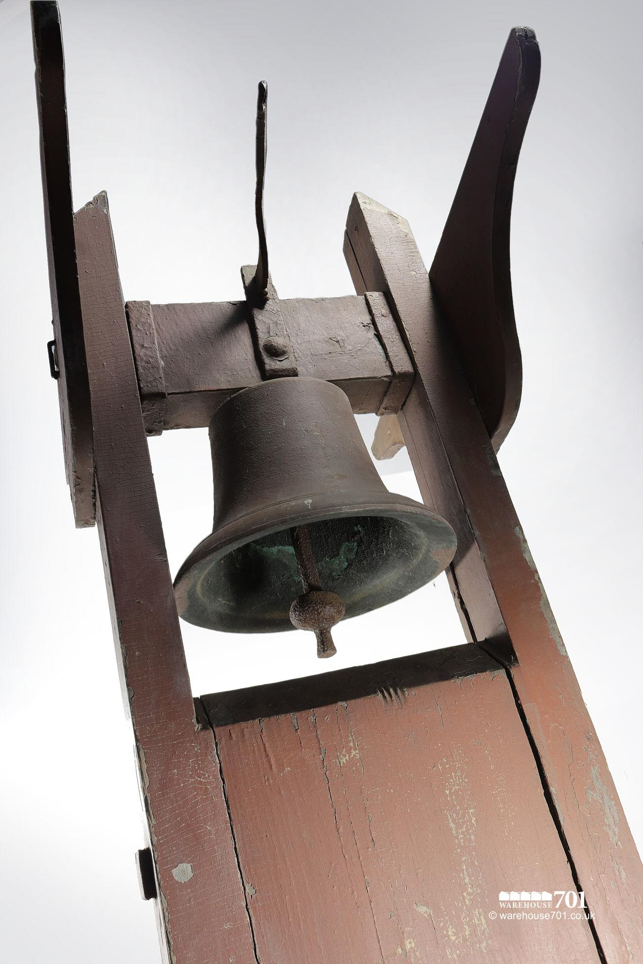 Antique School, Chapel or Factory Bell in Rare Bellframe #3
