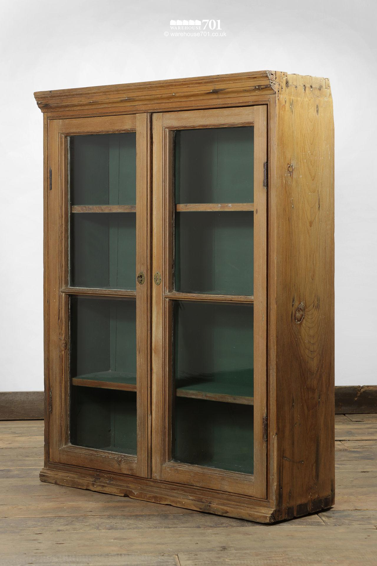 Green Interior Antique Pine Glazed Display Cabinet #7