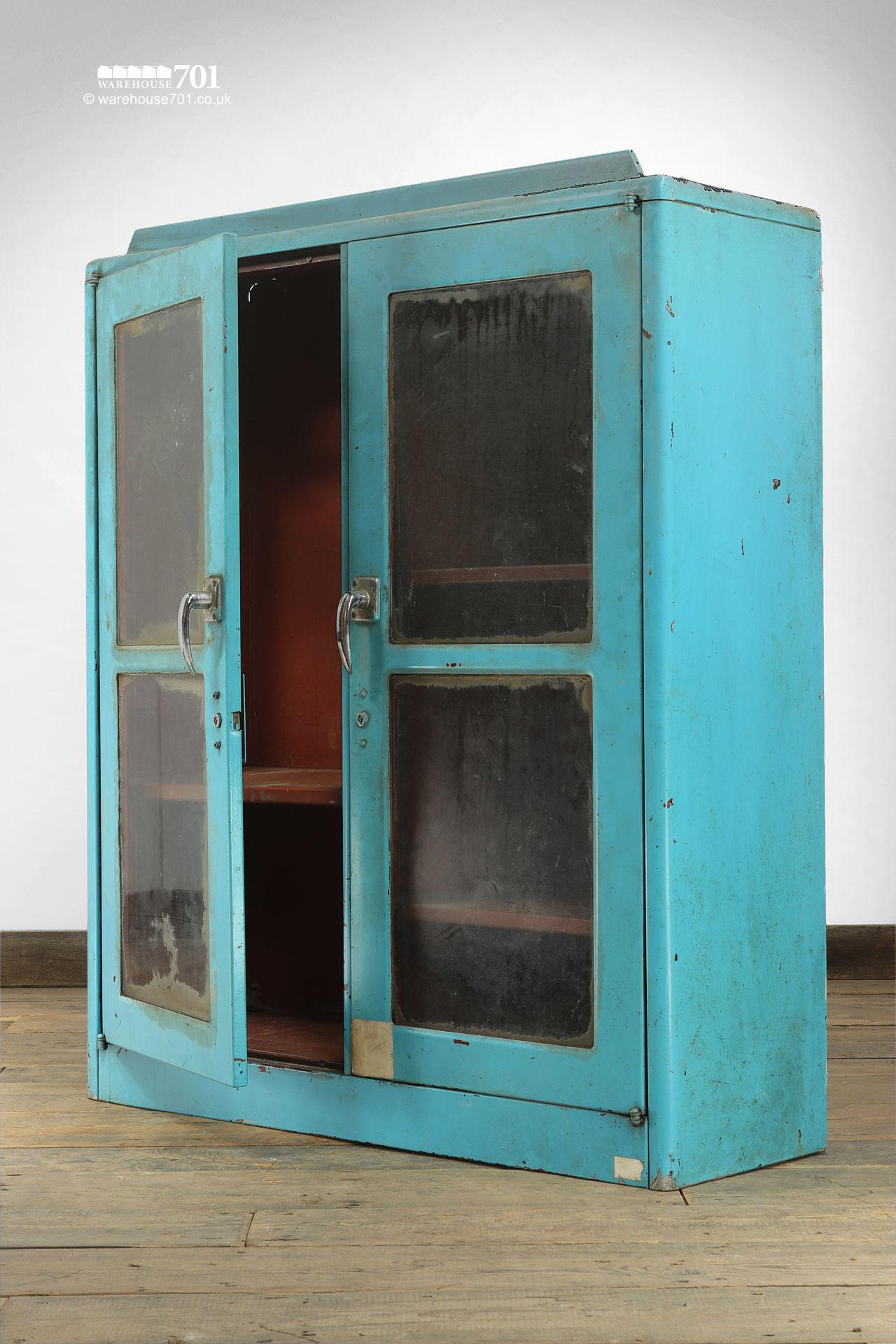 Salvaged Glazed Blue All-Metal Workshop Cabinet