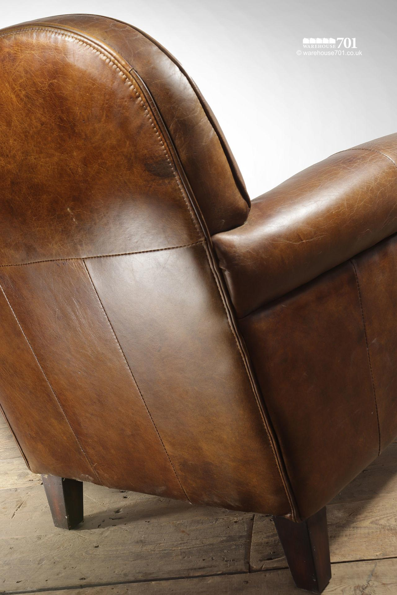 Beautifully Pre-Aged Tan Leather Armchair with Rounded Arms and Back #7