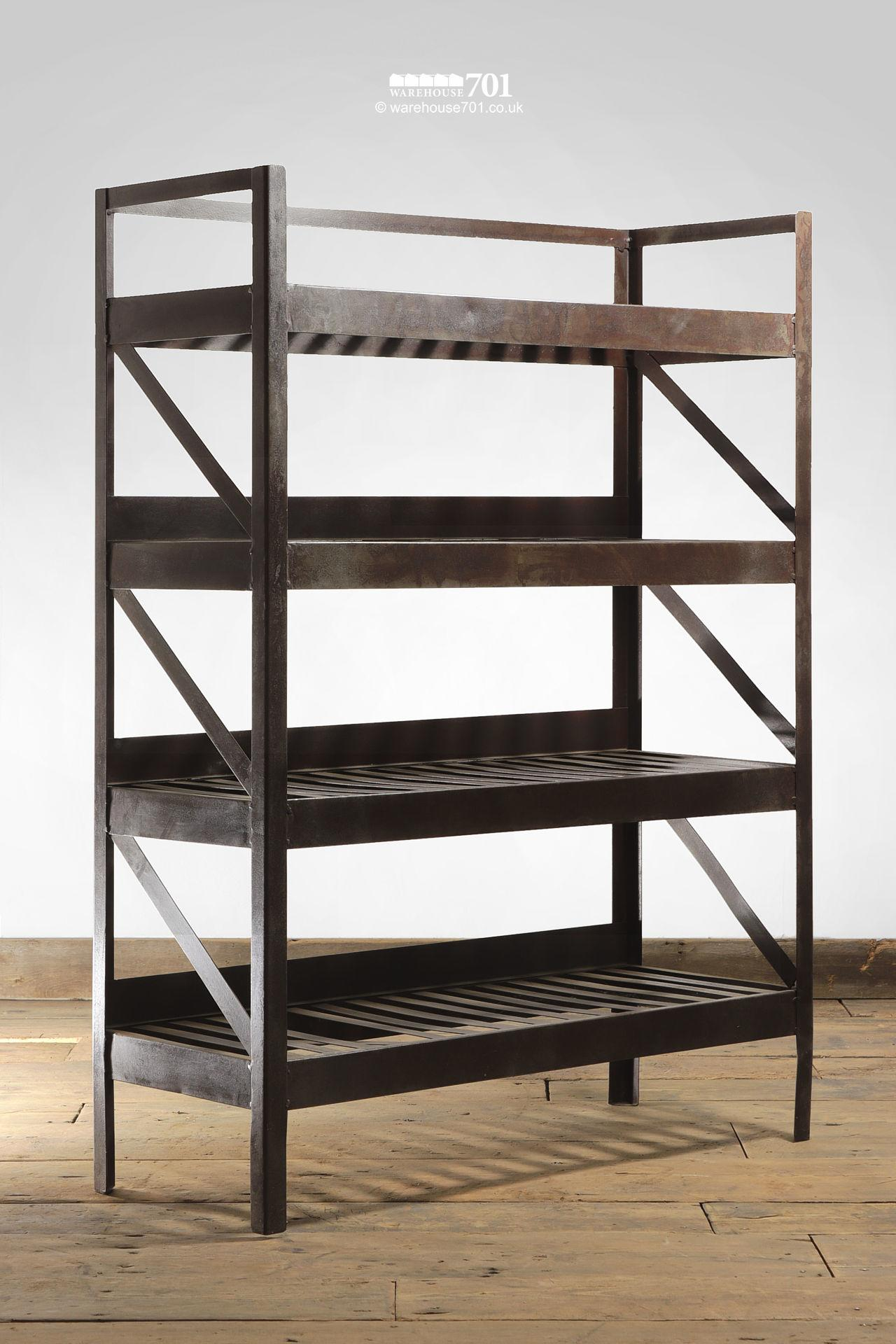 NEW Iron-Colour Metal Four Tier Slatted Shelving or Display Unit #3