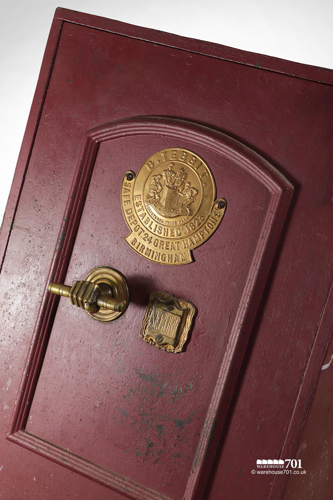 Salvaged Vintage Burgundy Red and Brass Safe by B.Tebbit of Birmingham