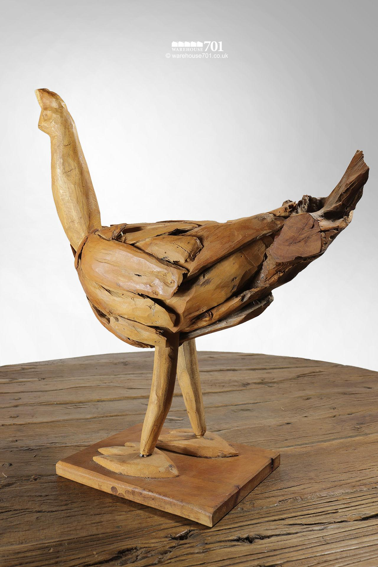 Reclaimed Drift Wood Style Sculpted Chicken, Cockerel or Rooster #3
