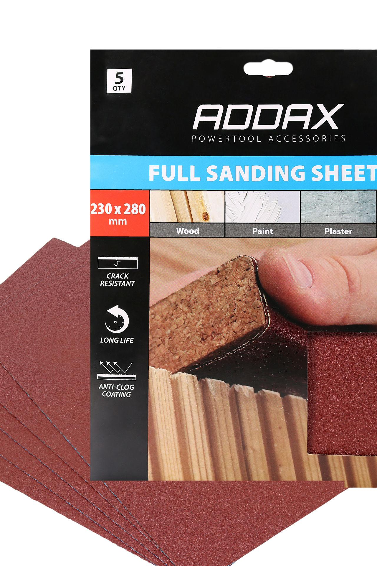 Pack of 5 Addax Sanding Sheets - Assorted Grit 80/120/180 - Red