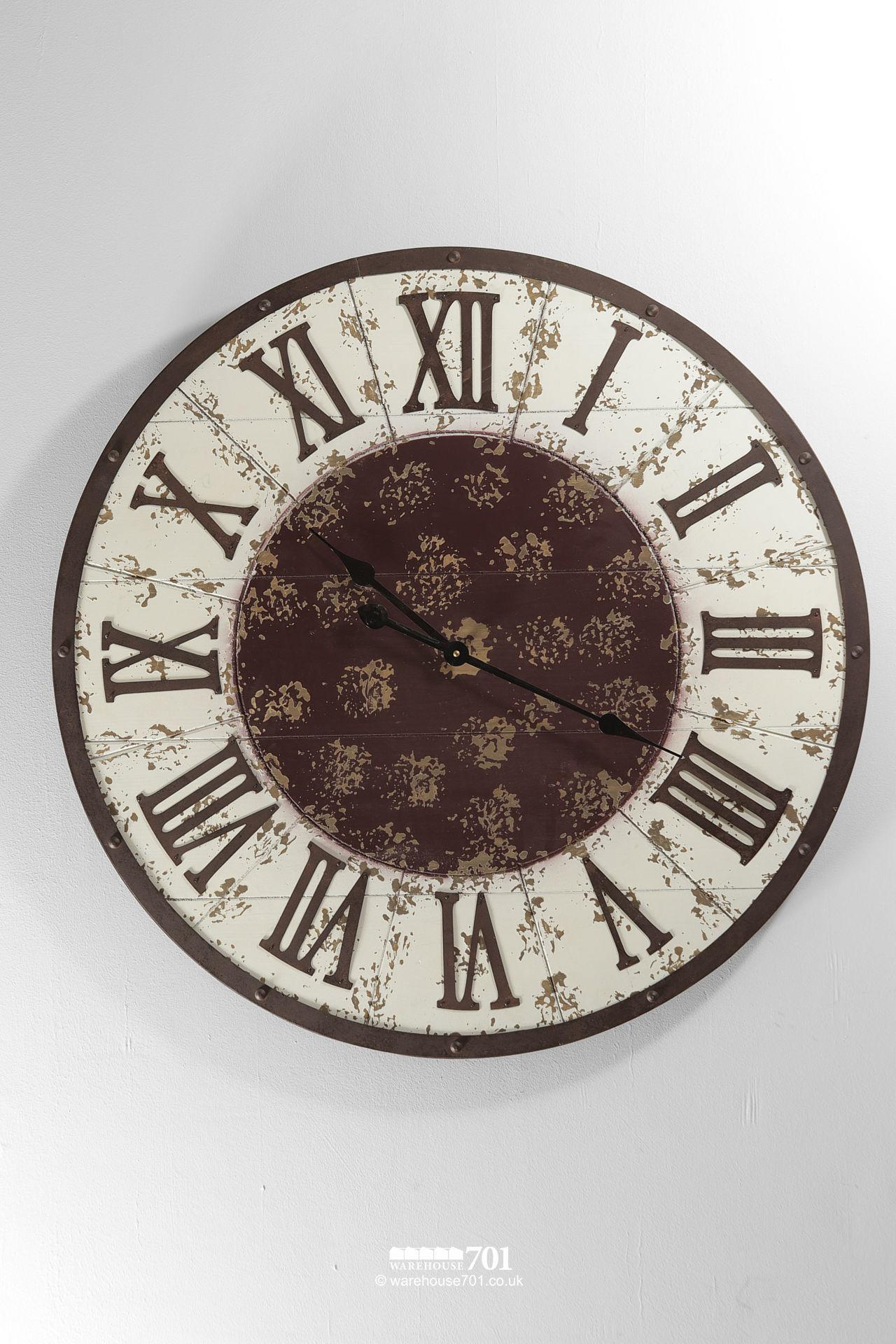NEW Large White and Brown Vintage Style Wall Clock #2