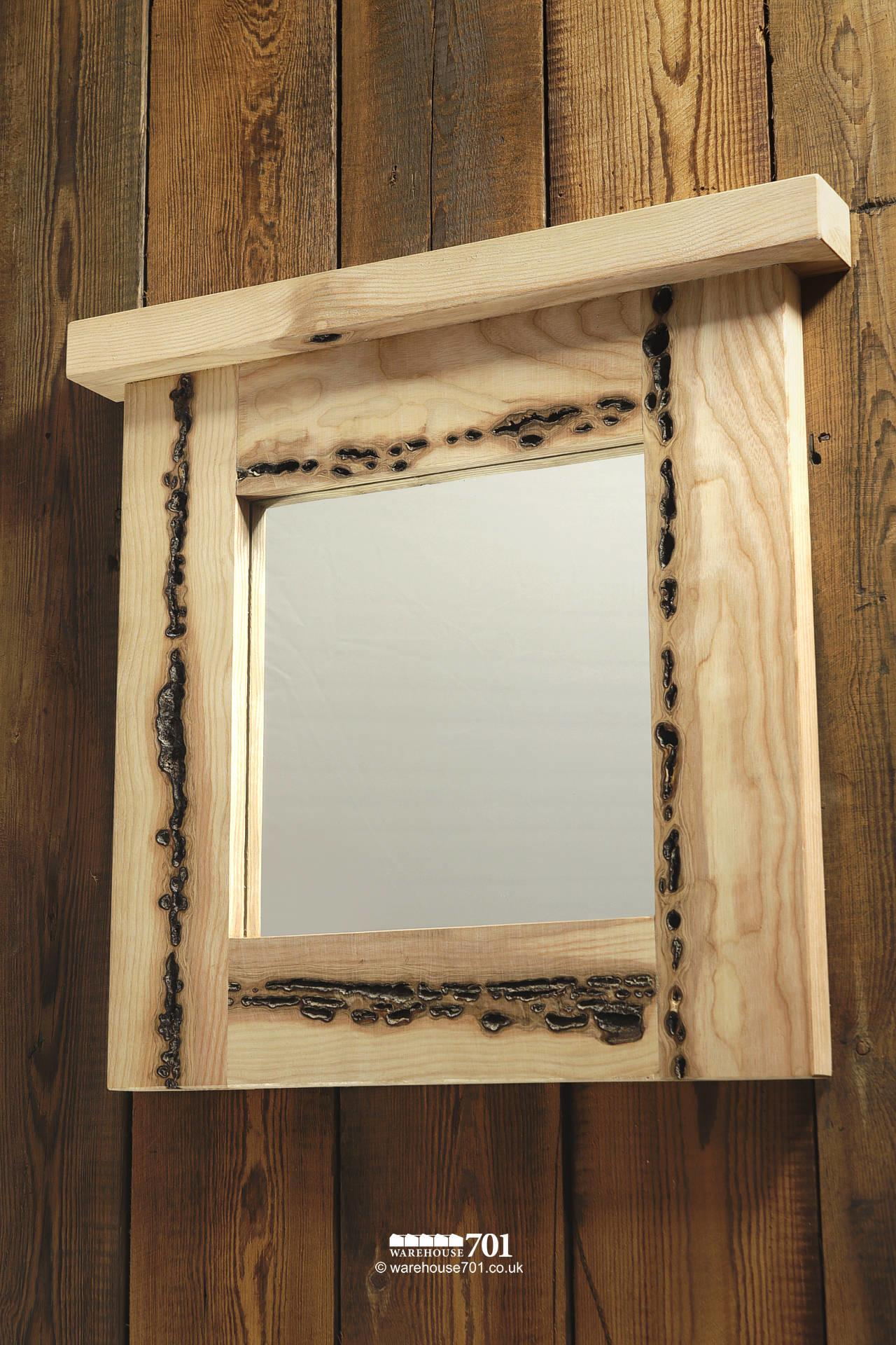 Amazing NEW Handmade Small Burr Ash Wood Mirror with Integral Top Shelf