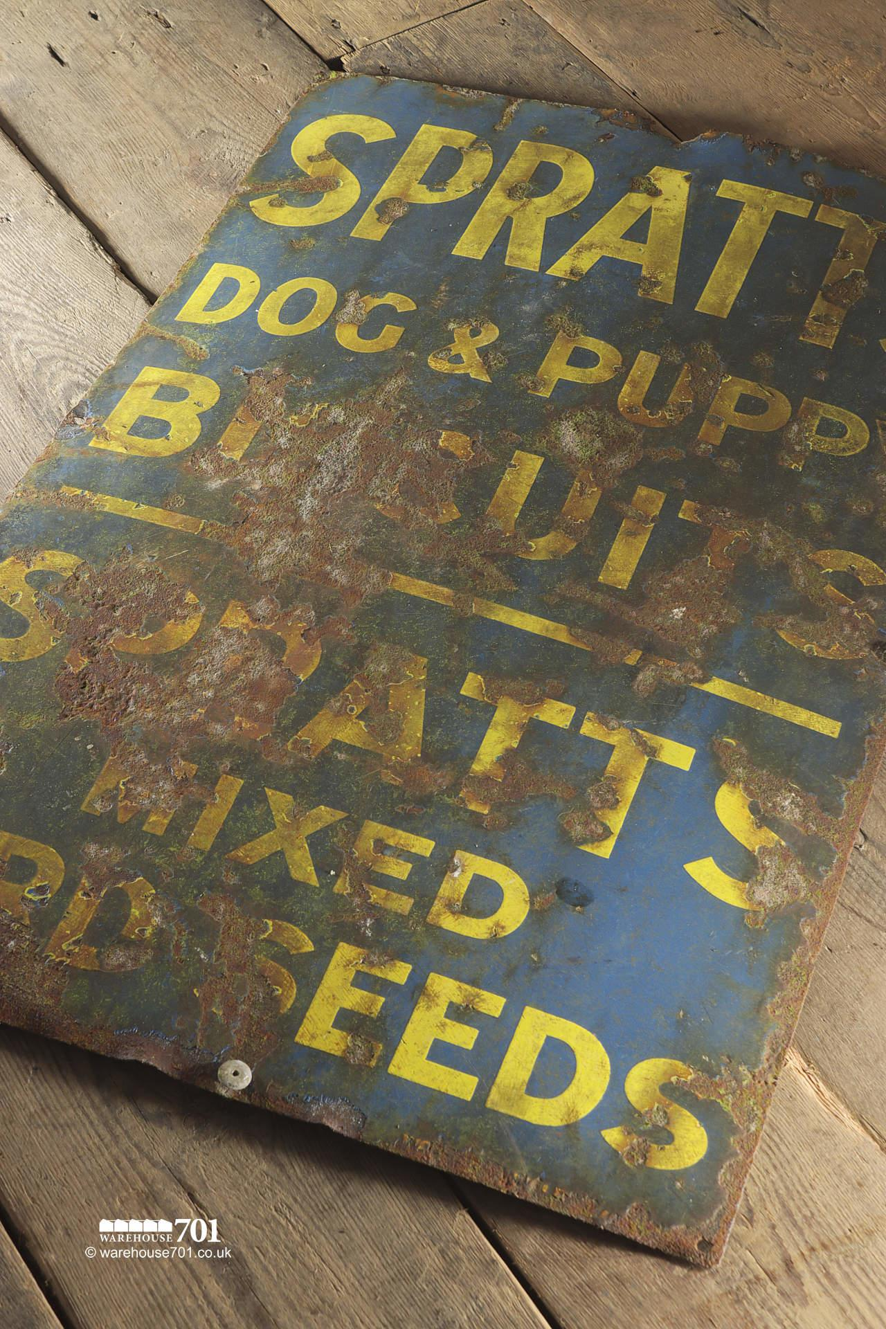 Salvaged Metal Spratts Dog and Puppy Enamel Sign #2