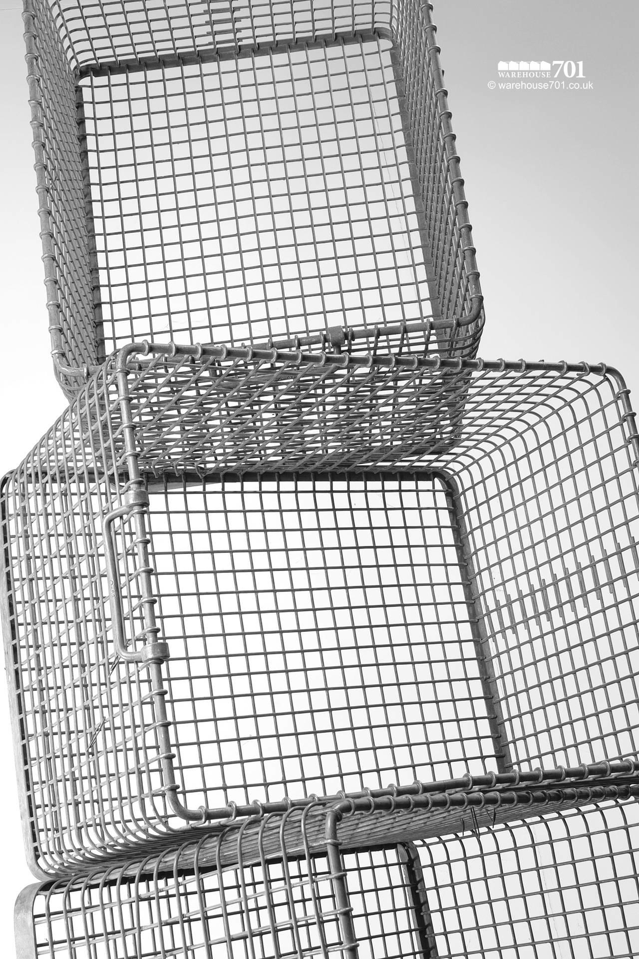 Reclaimed Heavy Gauge Stackable Wire Storage Crates with Dual Handles