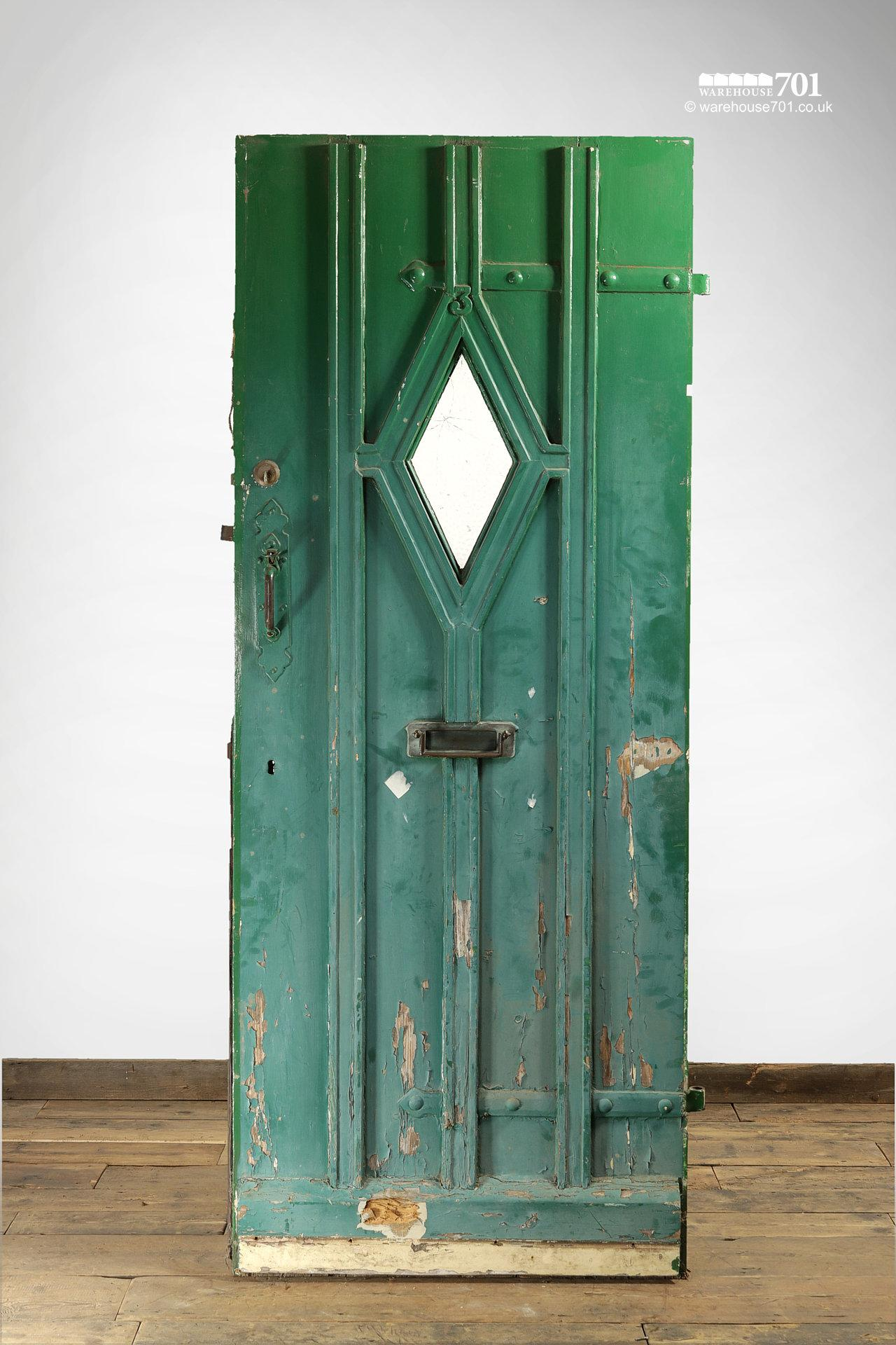 Old Green External Diamond Glazed Plank and Ledge Heavy Pine Door