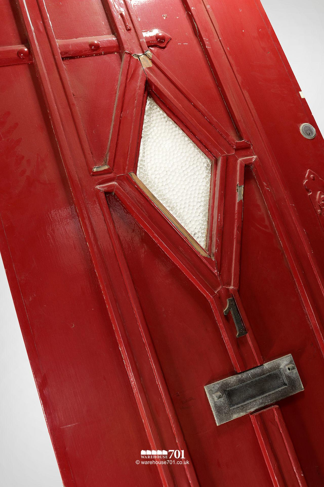 Old Red External Diamond Glazed Plank and Ledge Heavy Pine Door #2