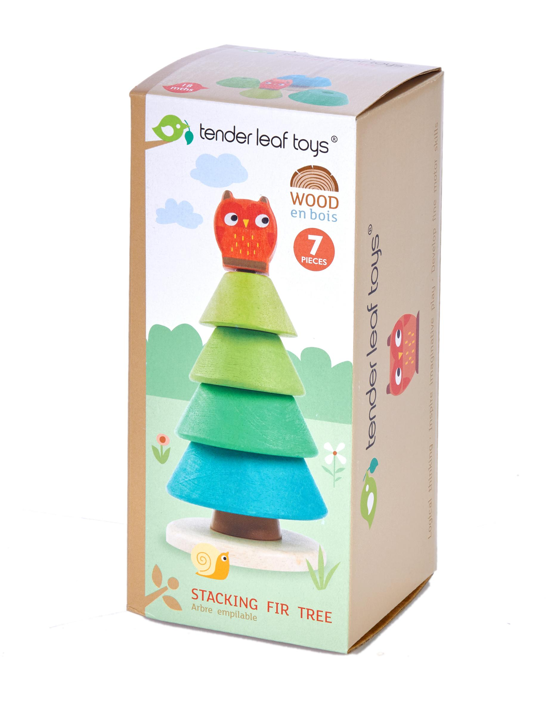 New Wooden Toy Stacking Fir Tree Topped with a Red Owl #4