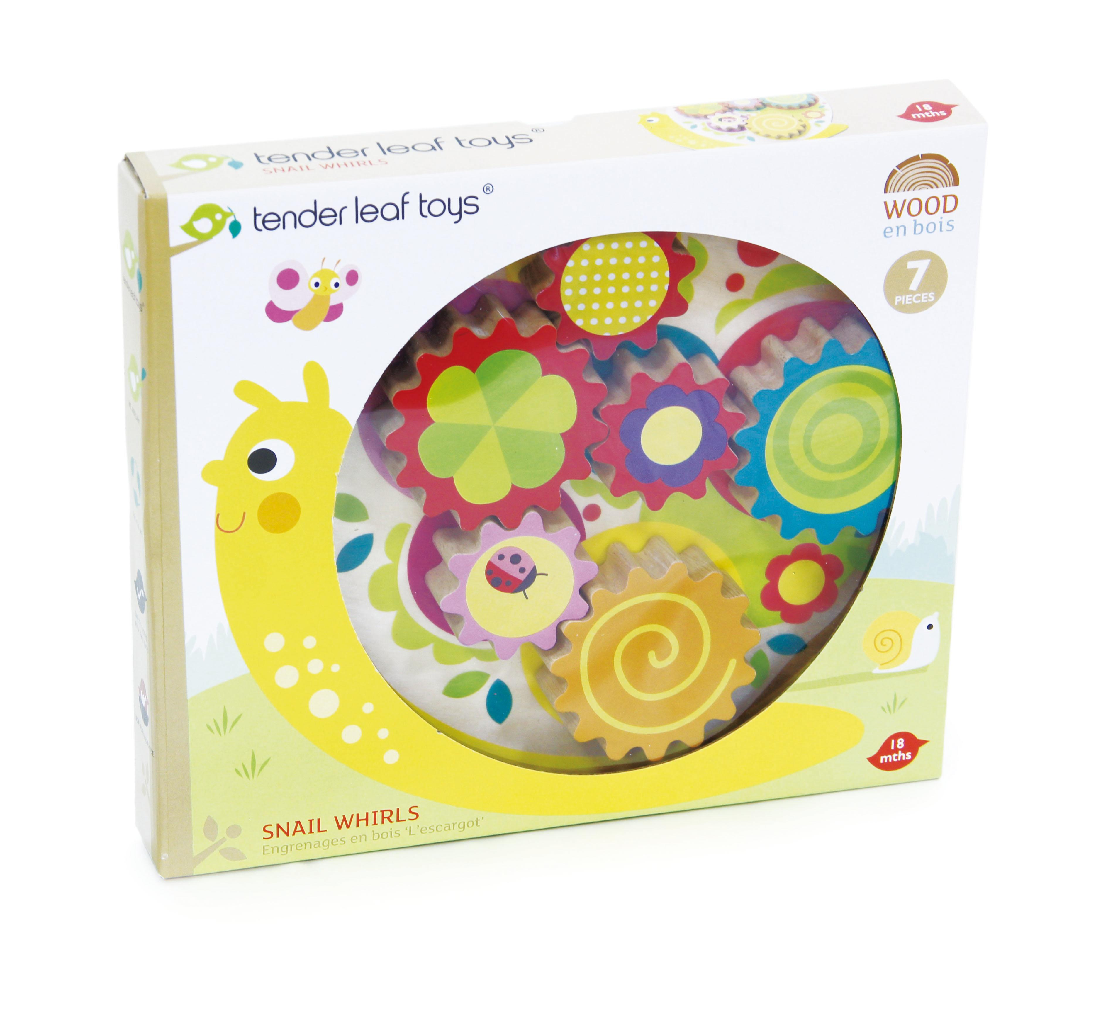 New Wooden Snail with 6 Placeable Colourful Cogs that Turn #4