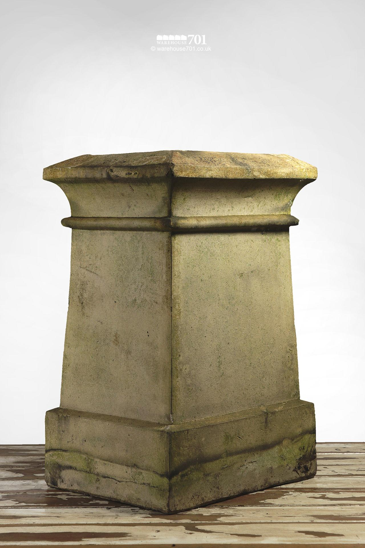 Reclaimed Rectangular Buff or Cream Colour Chimney Pot with Single Rib