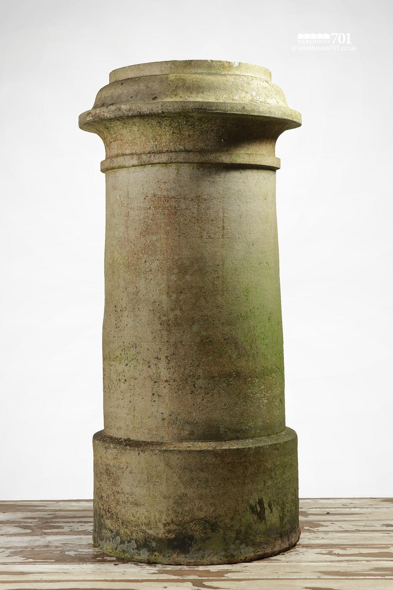 Pair of Reclaimed Tall Cream or Buff Ribbed Cannon Chimney Pots #5