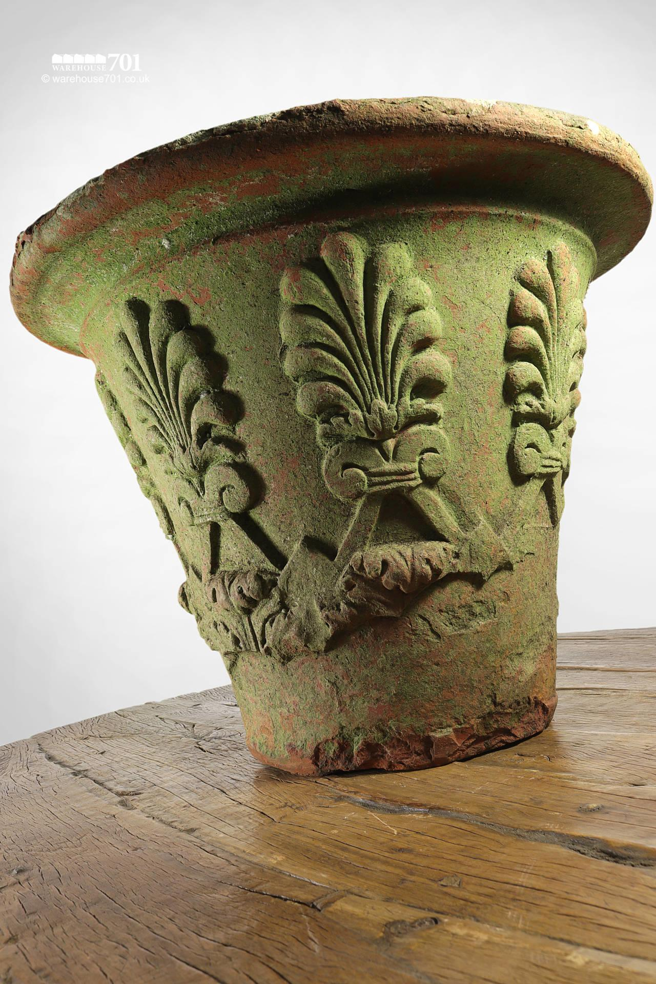 Old and Rare Large Terracotta or Clay Fern Pattern Planter or Pot