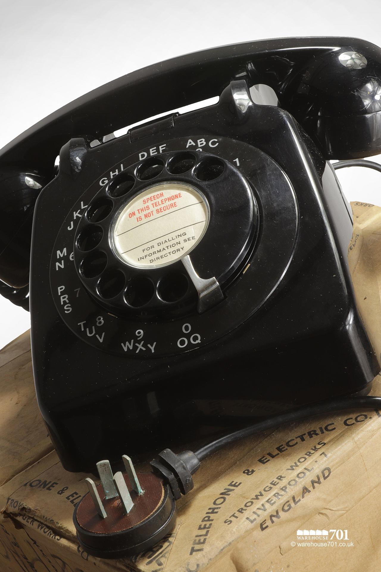Original Unused and Boxed Vintage GPO Black Bakelite Dial Telephone #2