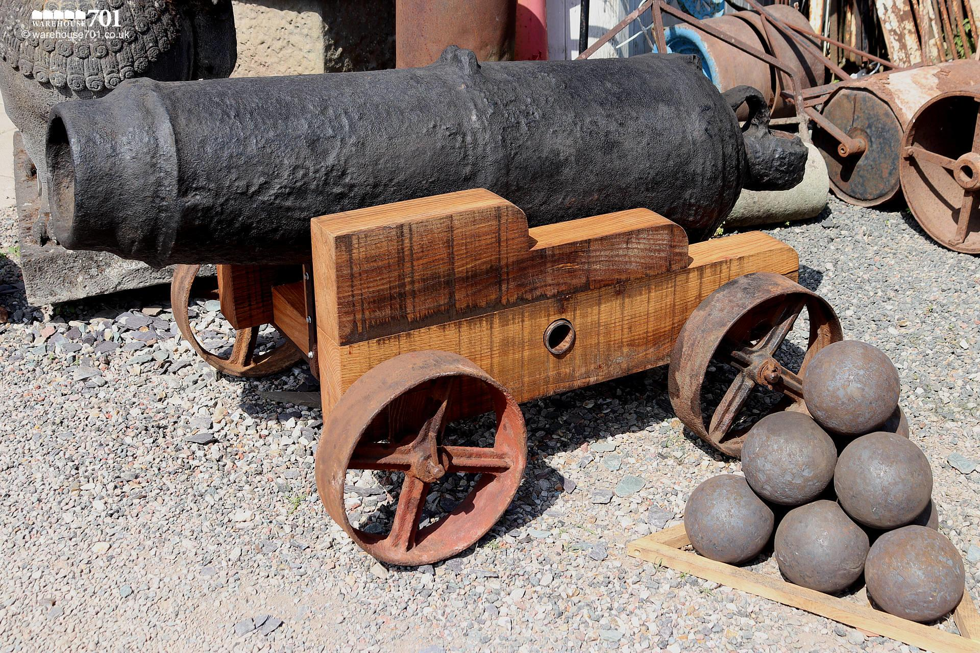 Fabulous Large Ocean-Salvaged Maritime 69lb Carronade Cannon on Carriage #3