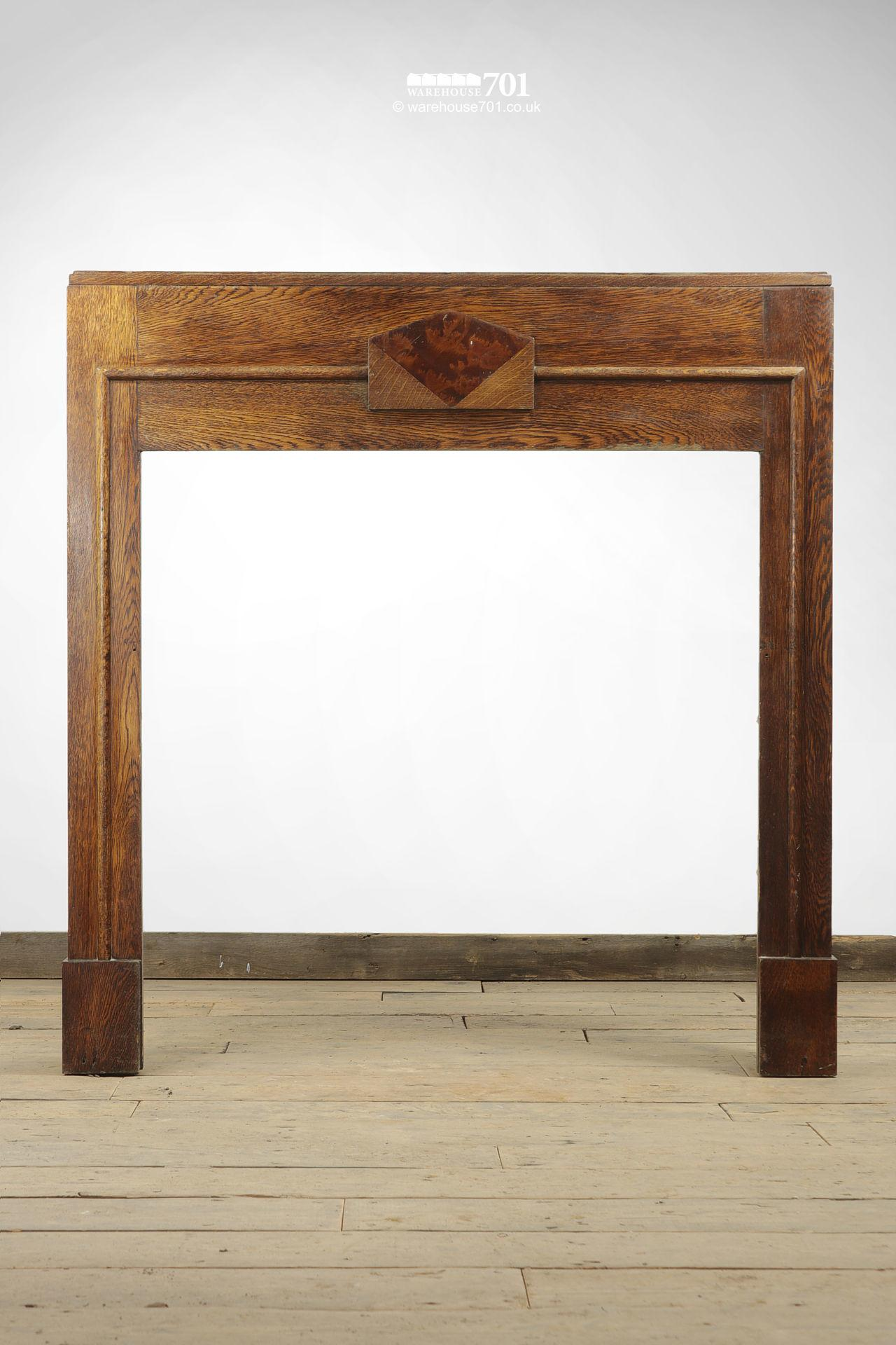 Vintage Art Deco Solid Oak Fire Surround with Mock Tortoiseshell Panel #3