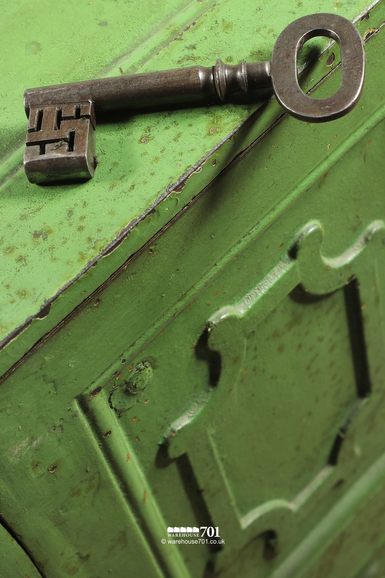 Salvaged Iron Green Painted Safe with Divider, Drawers and Key #2