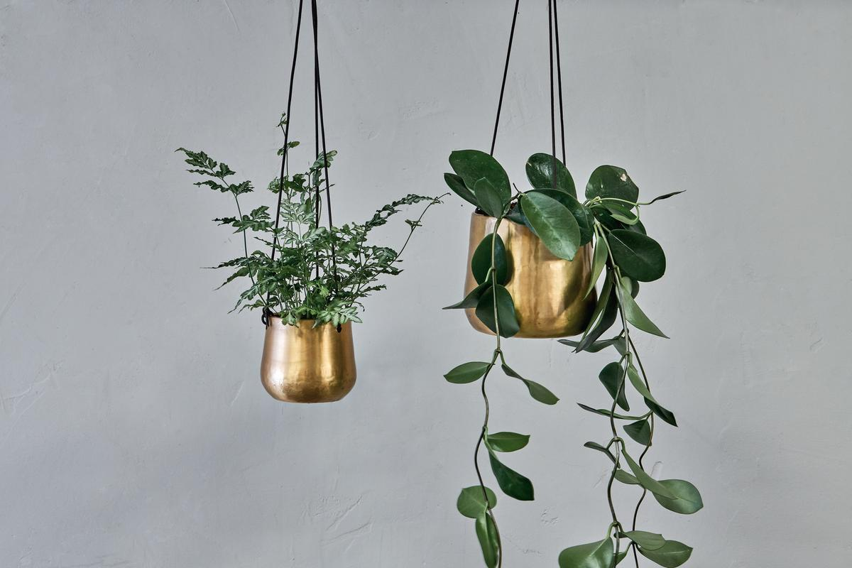 NEW Small Atsu Antique Brass Hanging Planter