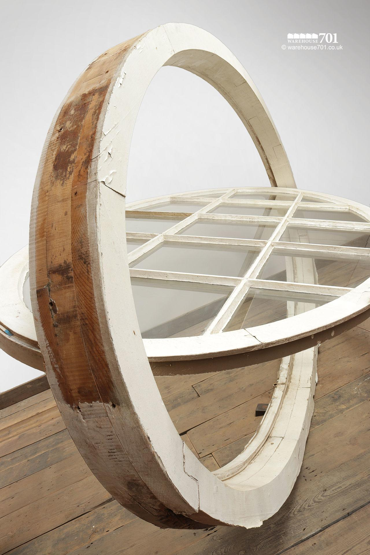 Very Large Old Oval Opening Wood Window #6
