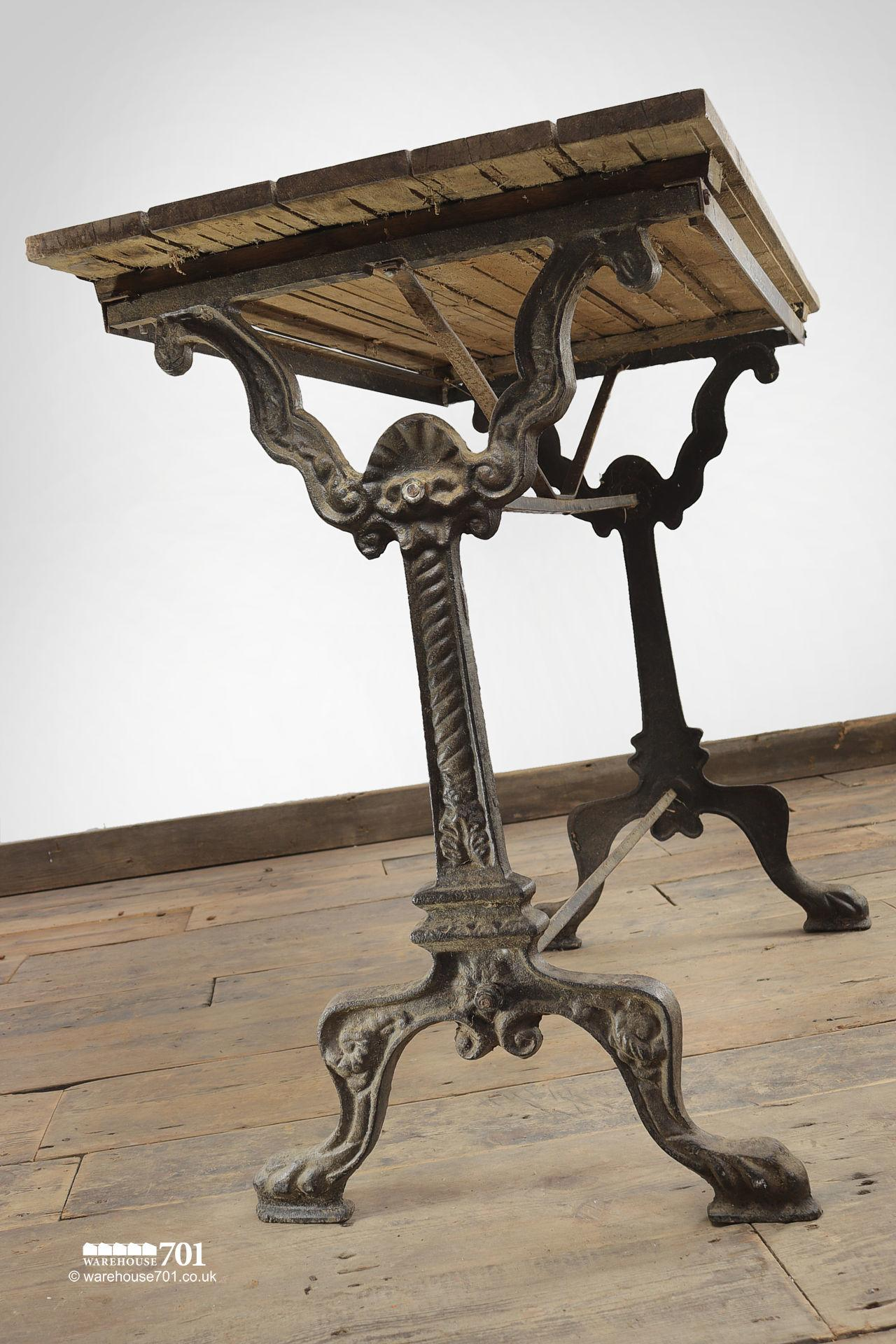 Reclaimed Oak Top Decorative Cast Iron Base Table