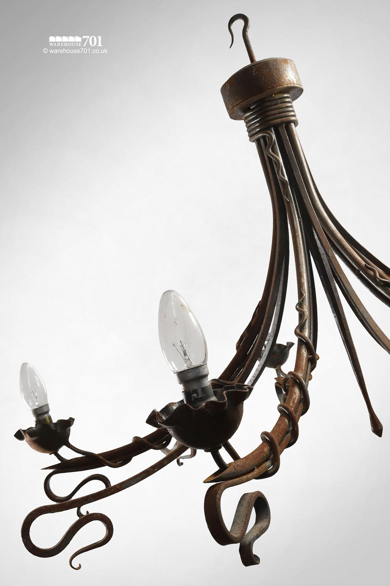 Reclaimed Blacksmith Made Entwined Scroll Iron Chandeliers