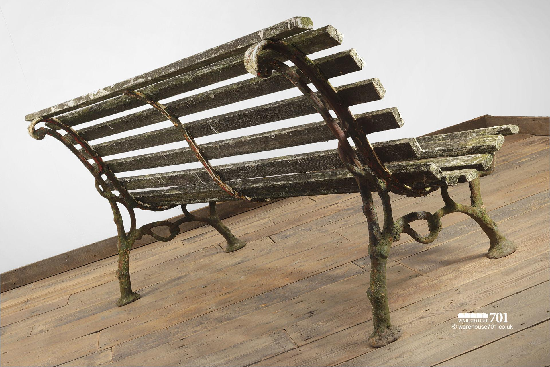 Old Branch Pattern Cast Iron and Wood Slat Bench #6