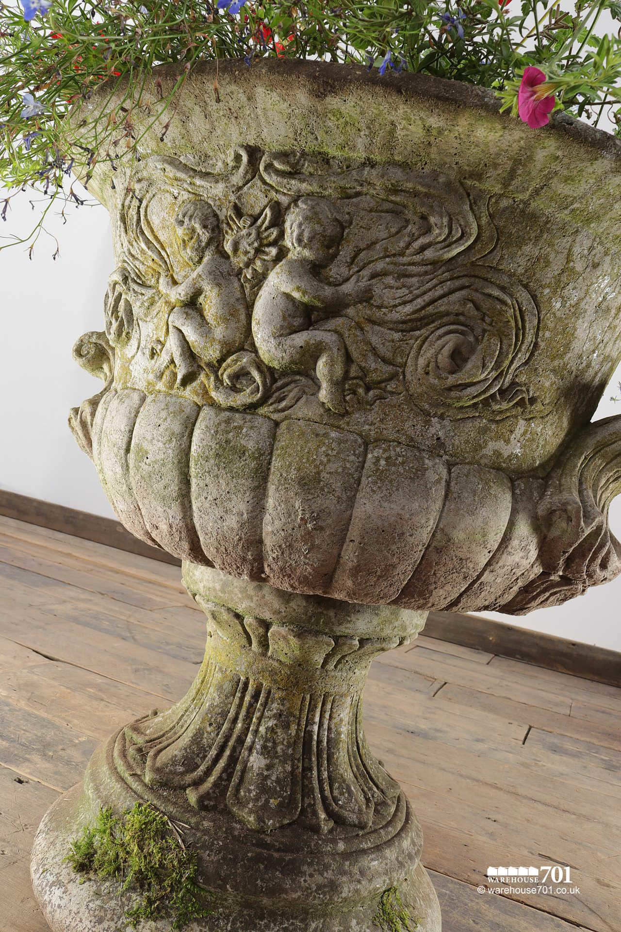 Salvaged 20th Century Decorative Urn with Cherubs #2