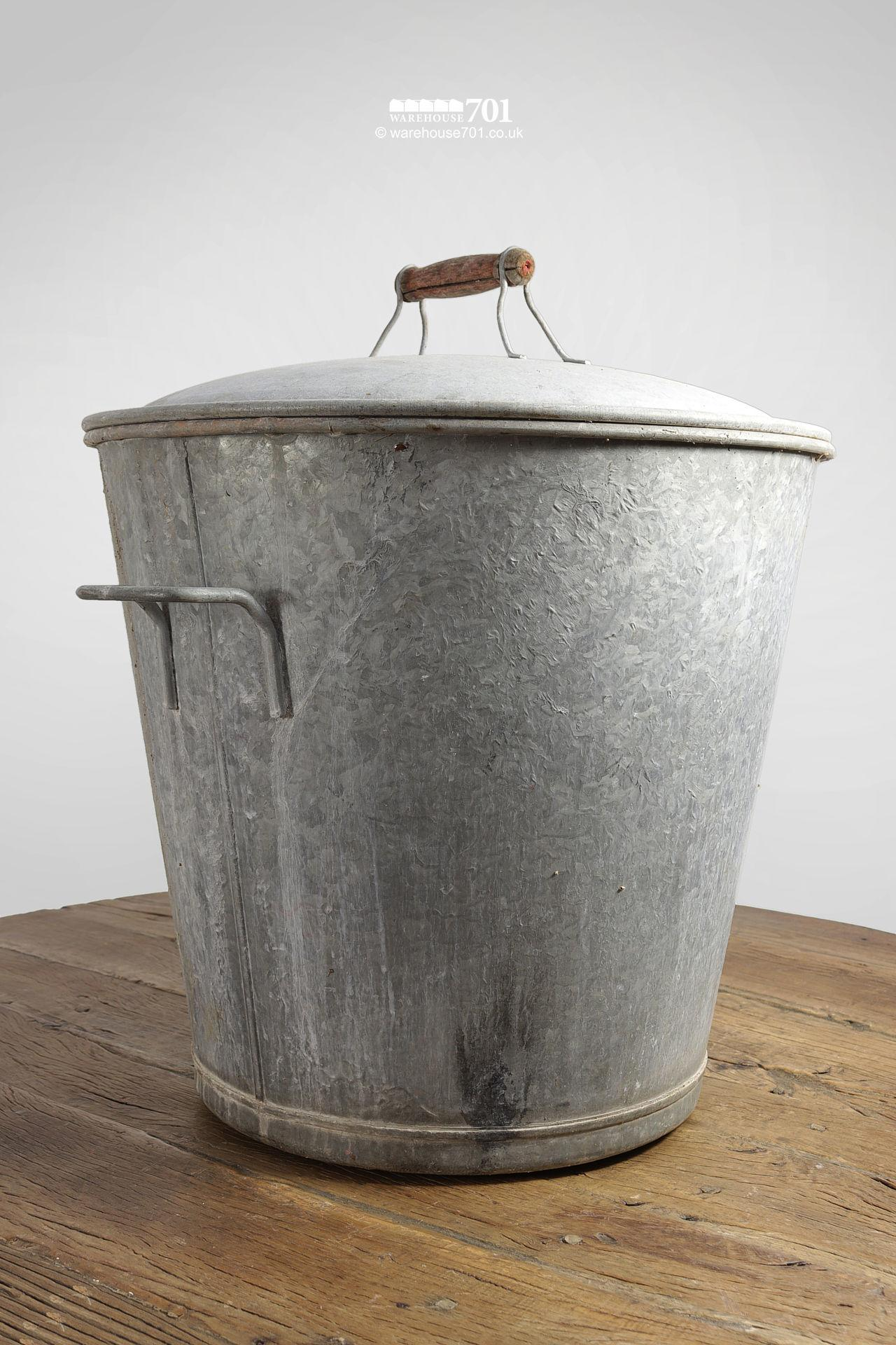 Handsome Vintage Galvanised Bucket with Lid #2