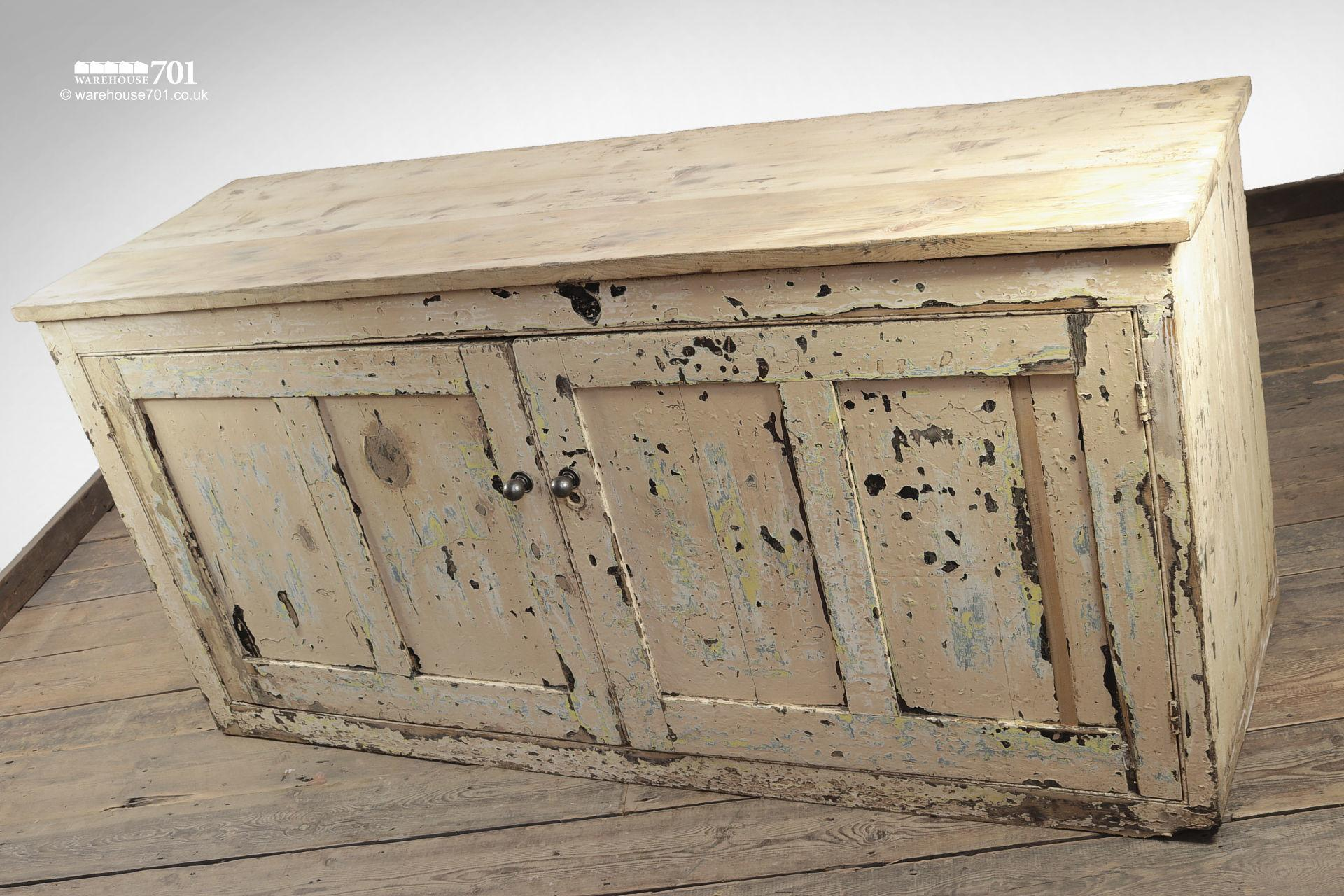 Beautiful Old Aged Two Door Painted Wood Sideboard #7