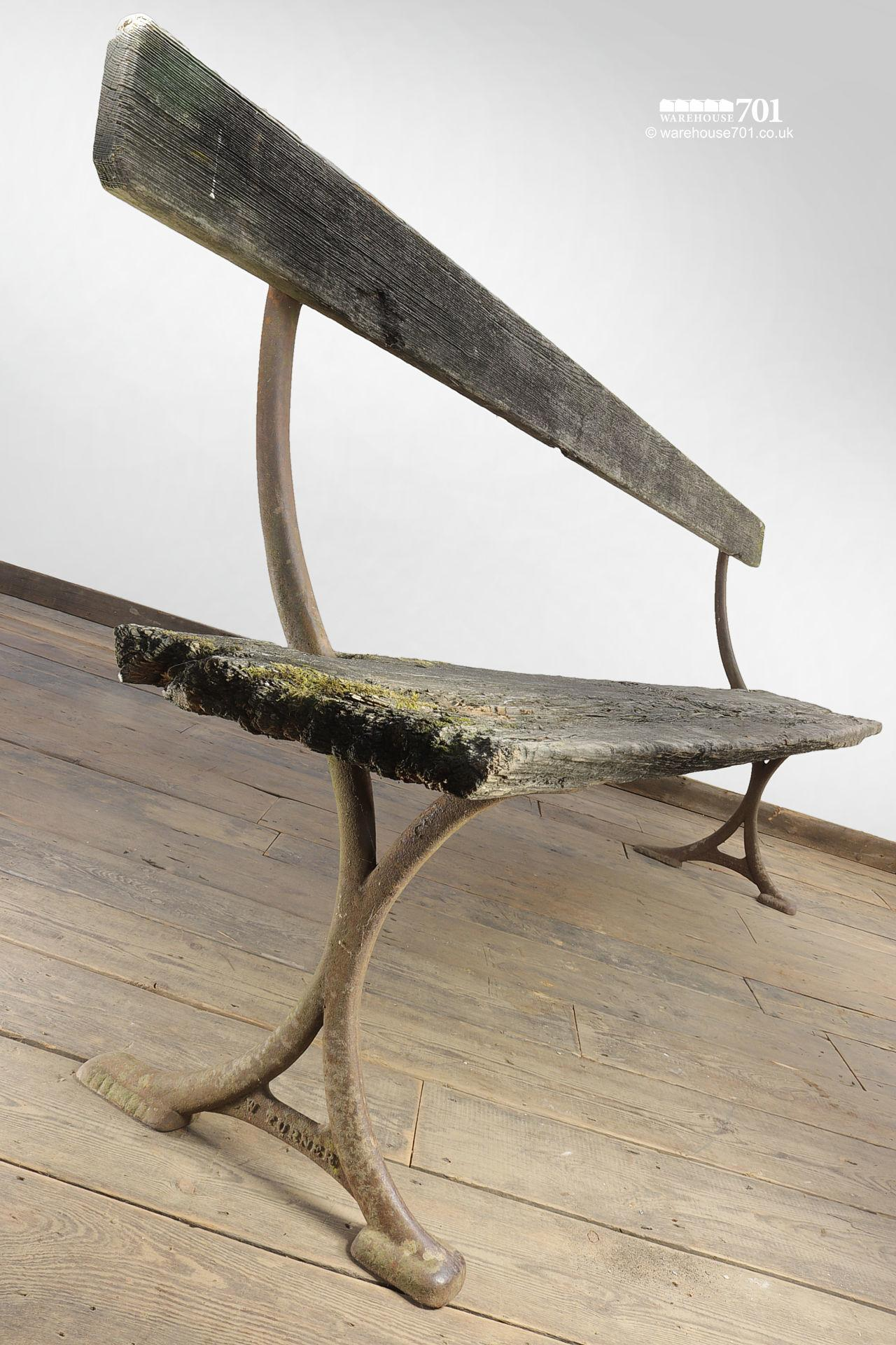 Elegant Reclaimed Cast Iron Bench by W Turner of Newtown