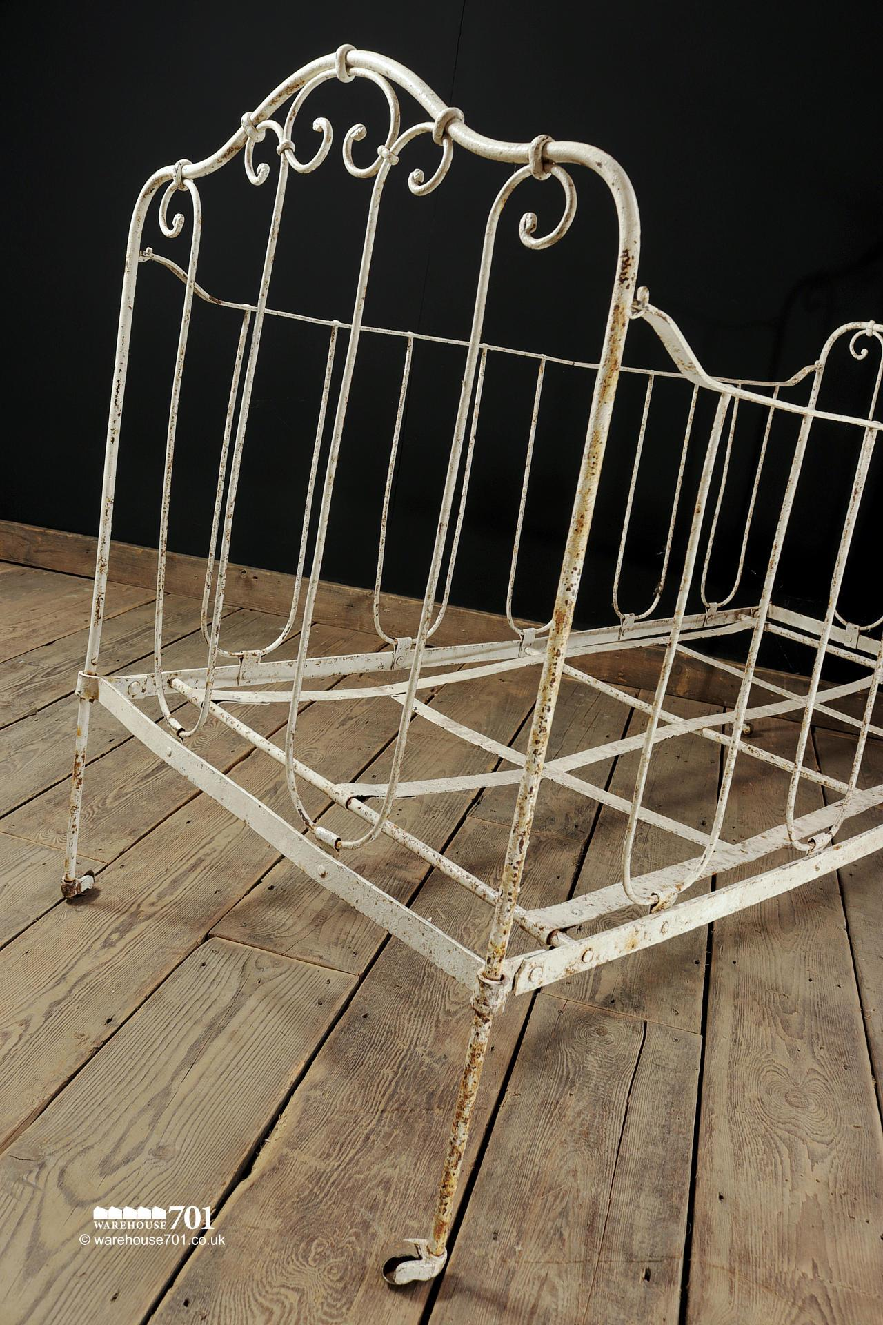 Vintage White Iron Children's Cot or Small Bed #2