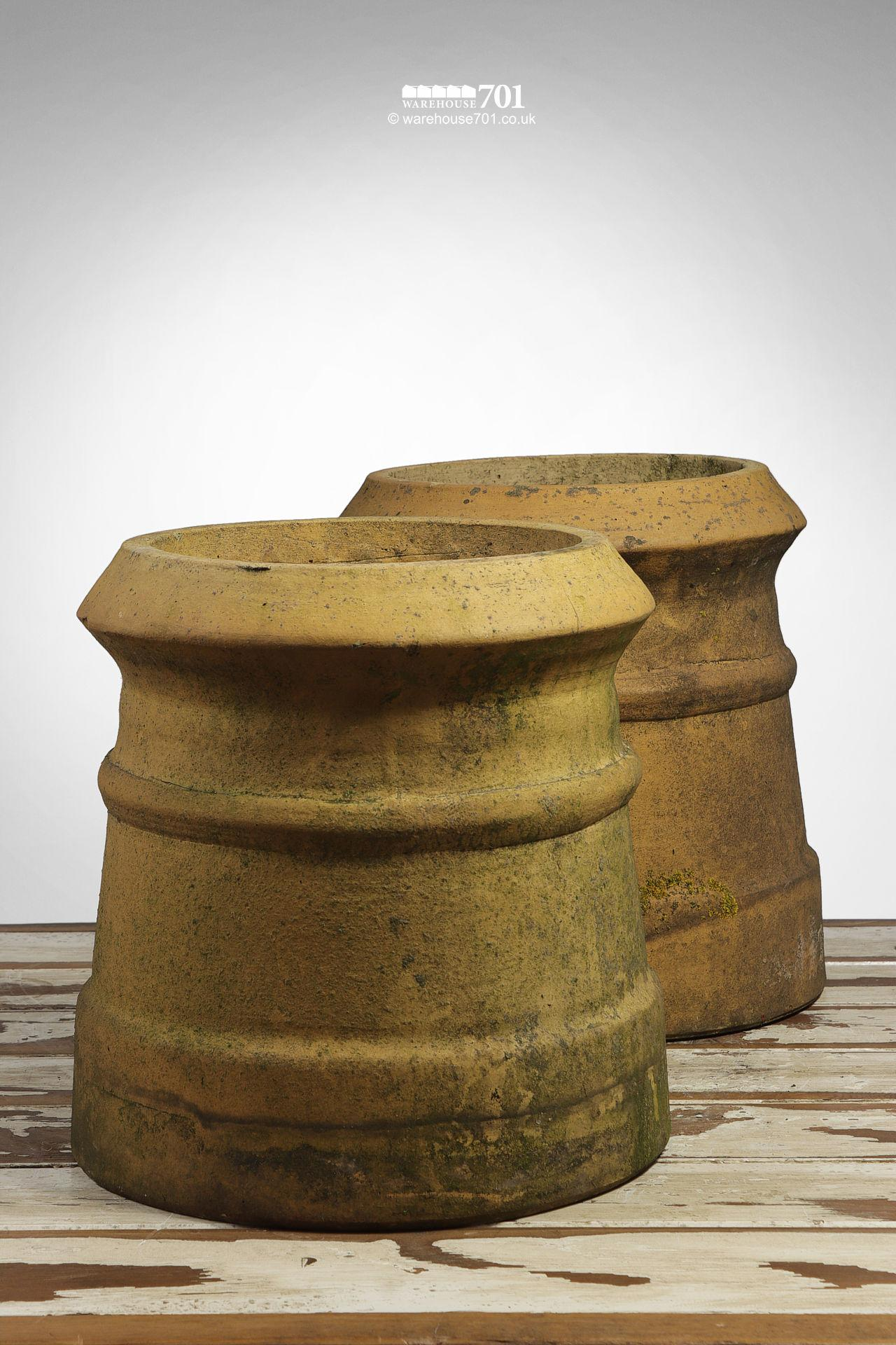 Reclaimed Pair of Small Buff Cannon Chimney Pots