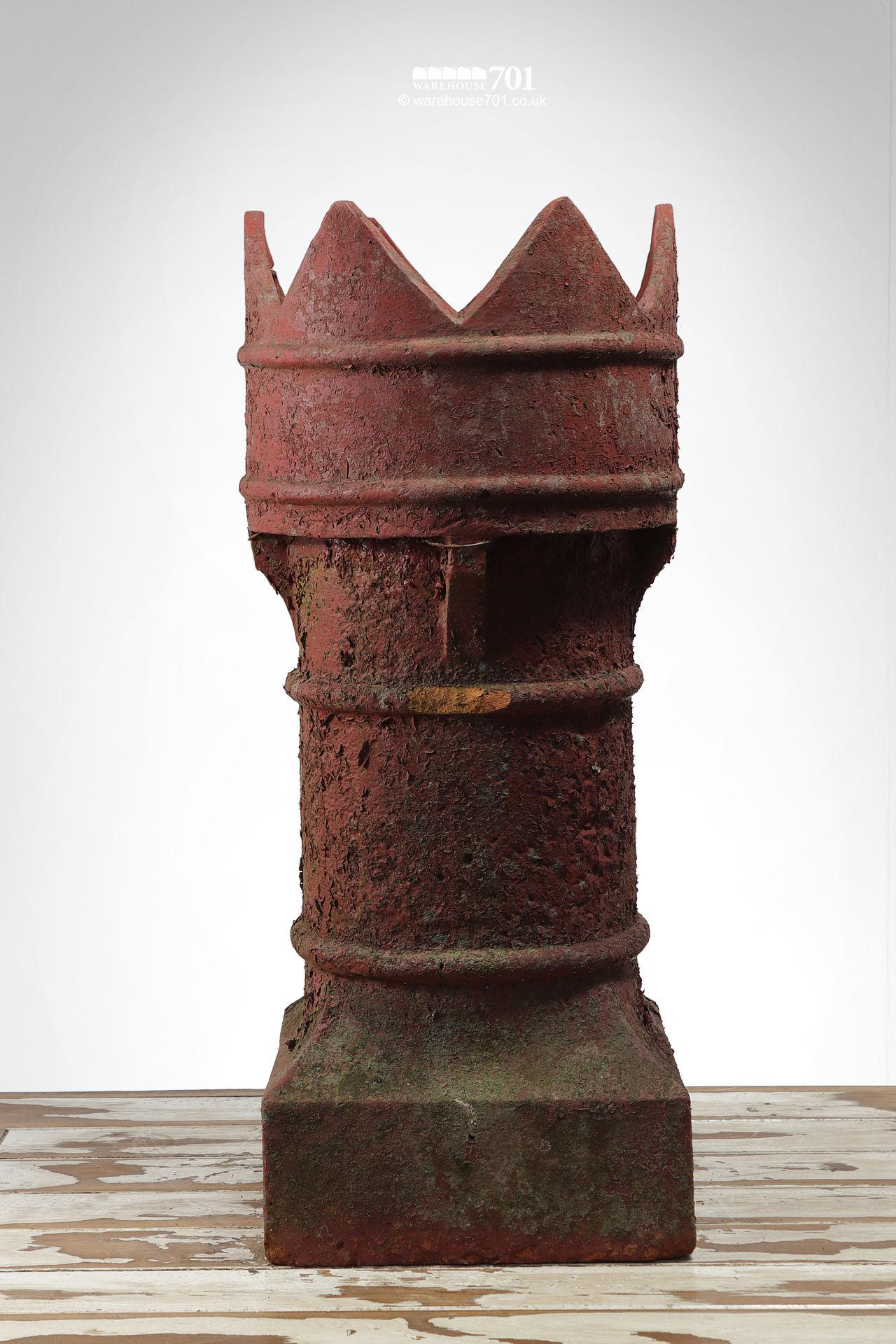Red Painted Bishop Style Clay Chimney Pot #4