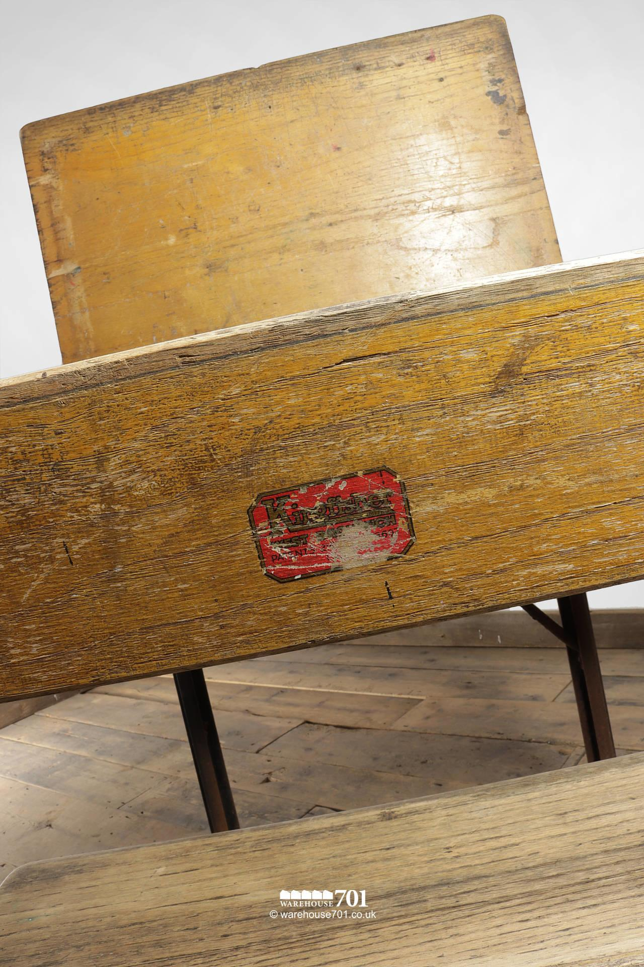 Reclaimed Wooden Childs School Desk and Seat #4