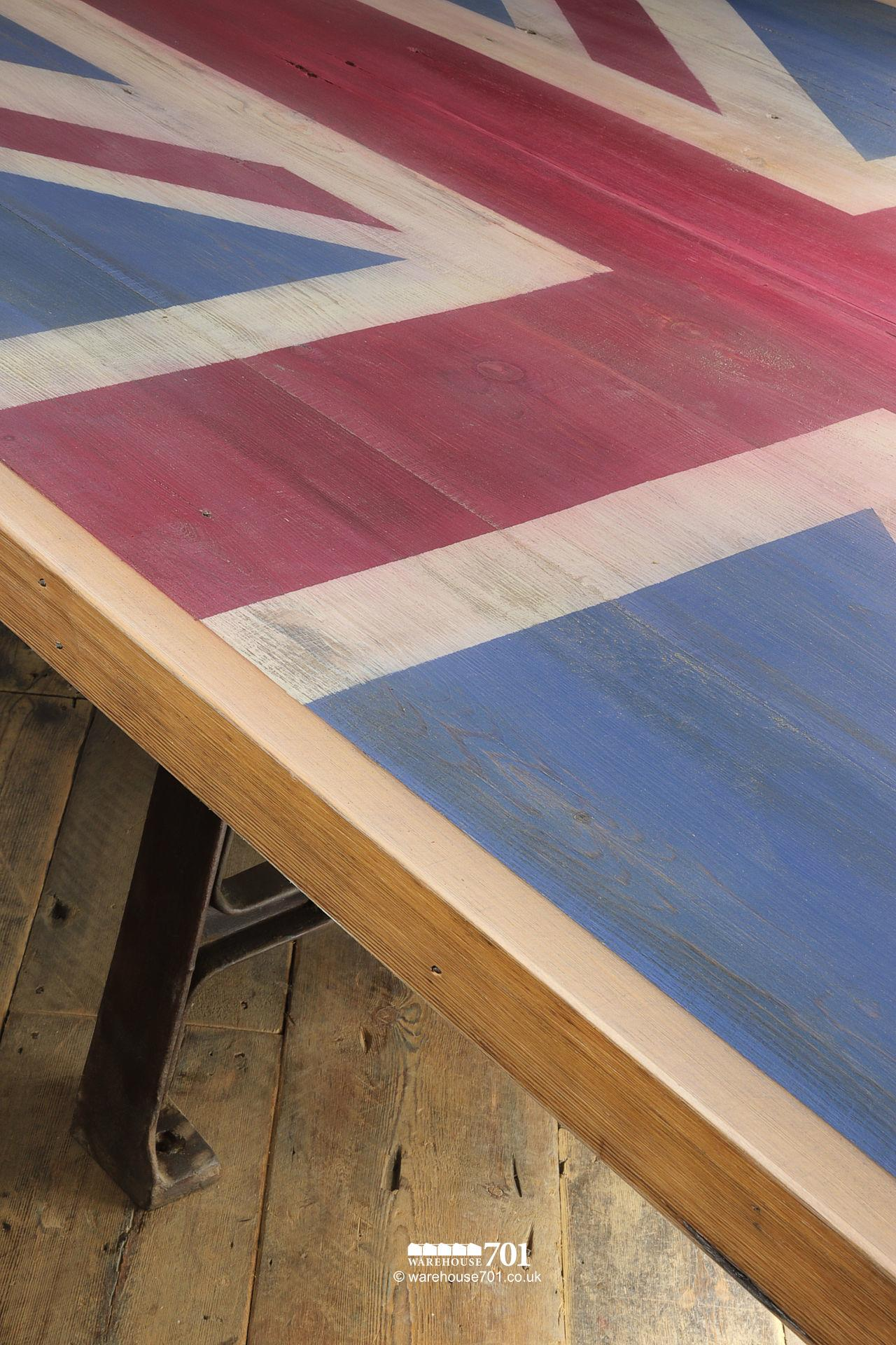 Reclaimed Cast Iron base Union Jack Wooden Table #2