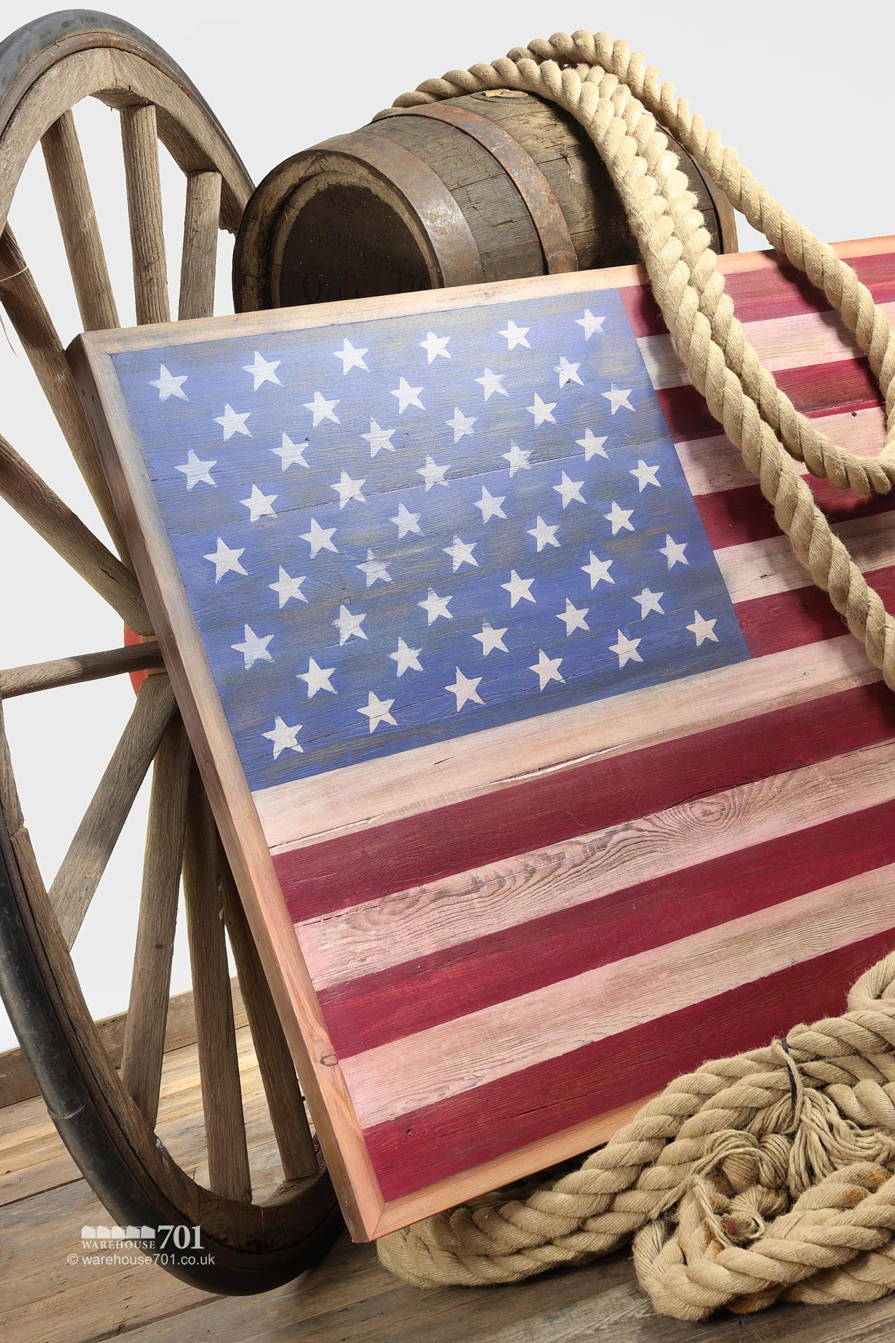 Stars and Stripes American Flag Hand Painted Wooden Wall Display