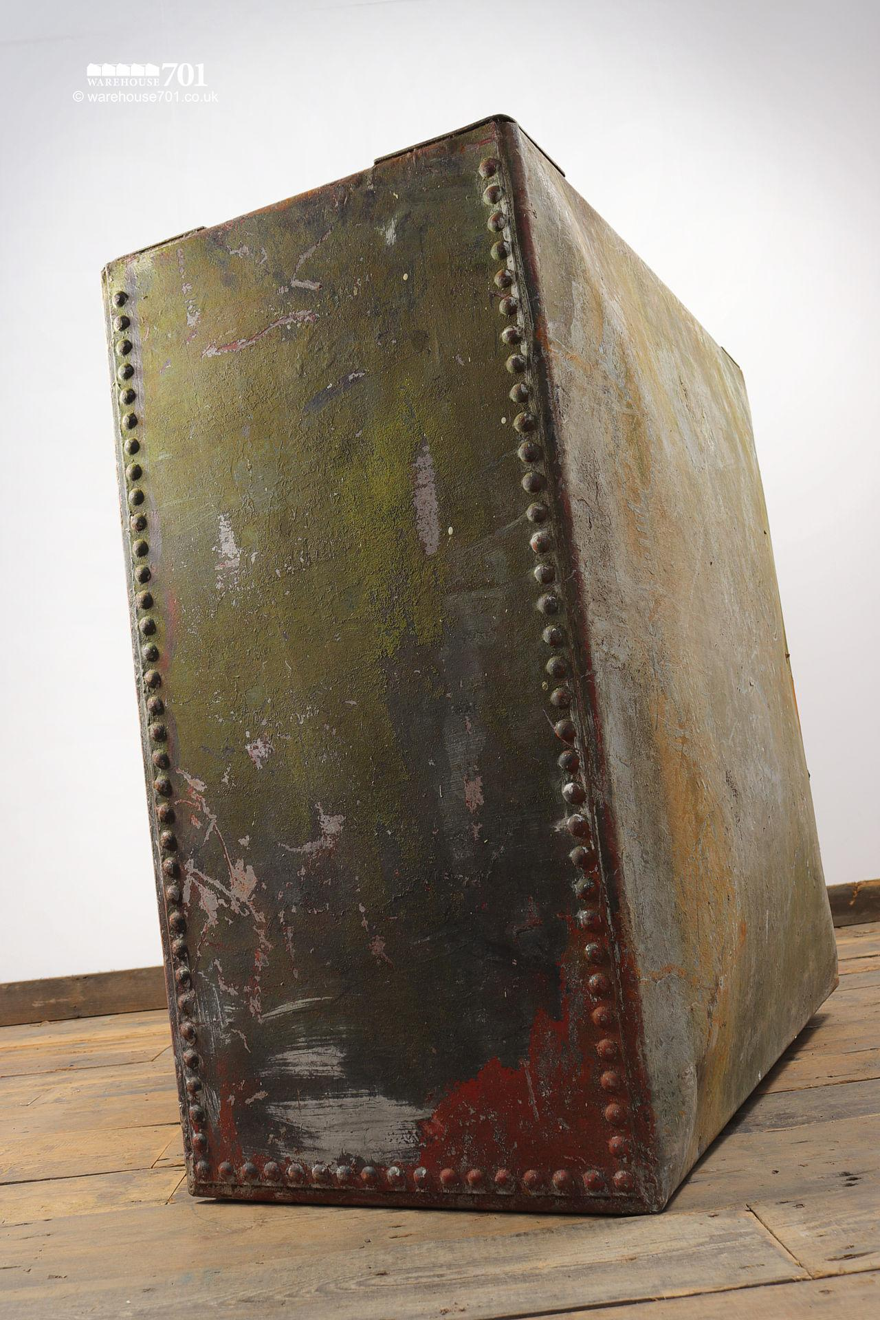 Old Salvaged Galvanised Riveted Red Water Tank #4