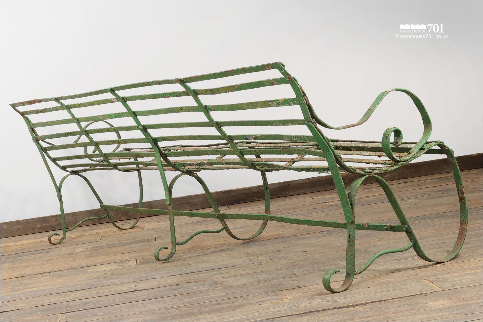 Salvaged Five Seater Metal Strap Park Bench #6