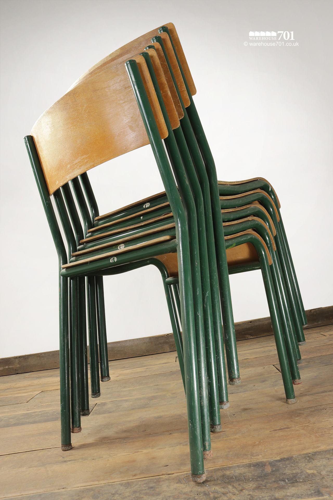 Old Green Tubular Steel and Ply Stacking Chairs #4
