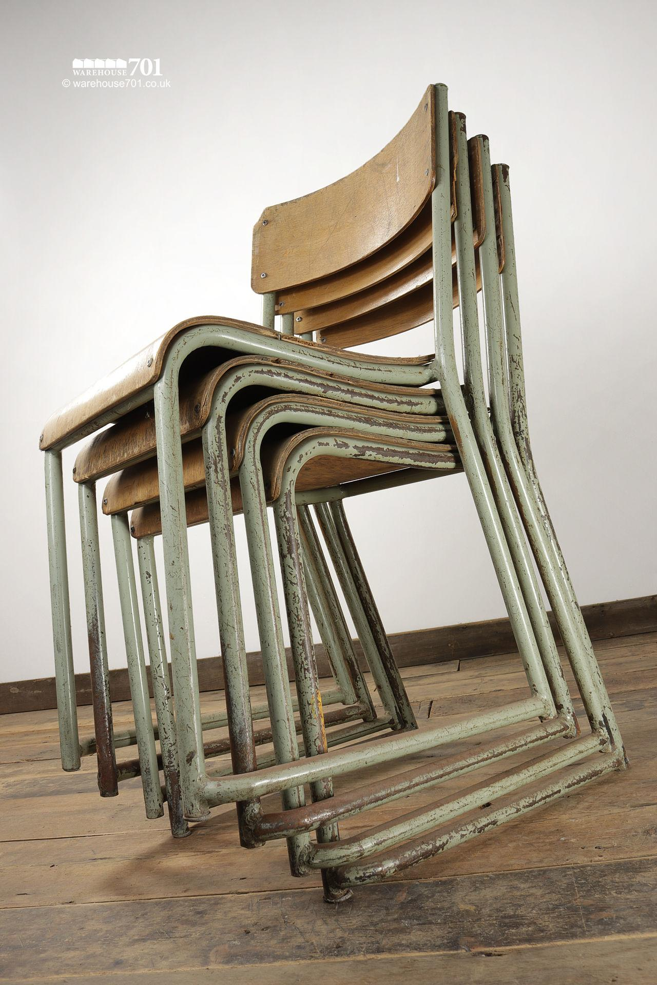 Vintage Sage Green Tubular Steel and Ply Stacking Chairs