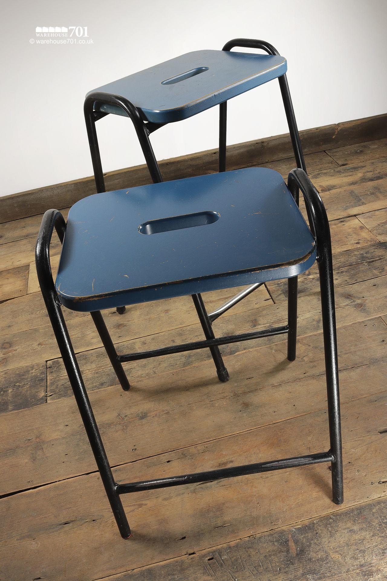 His & Hers Vintage Tubular Steel and Wood Stacking Stools
