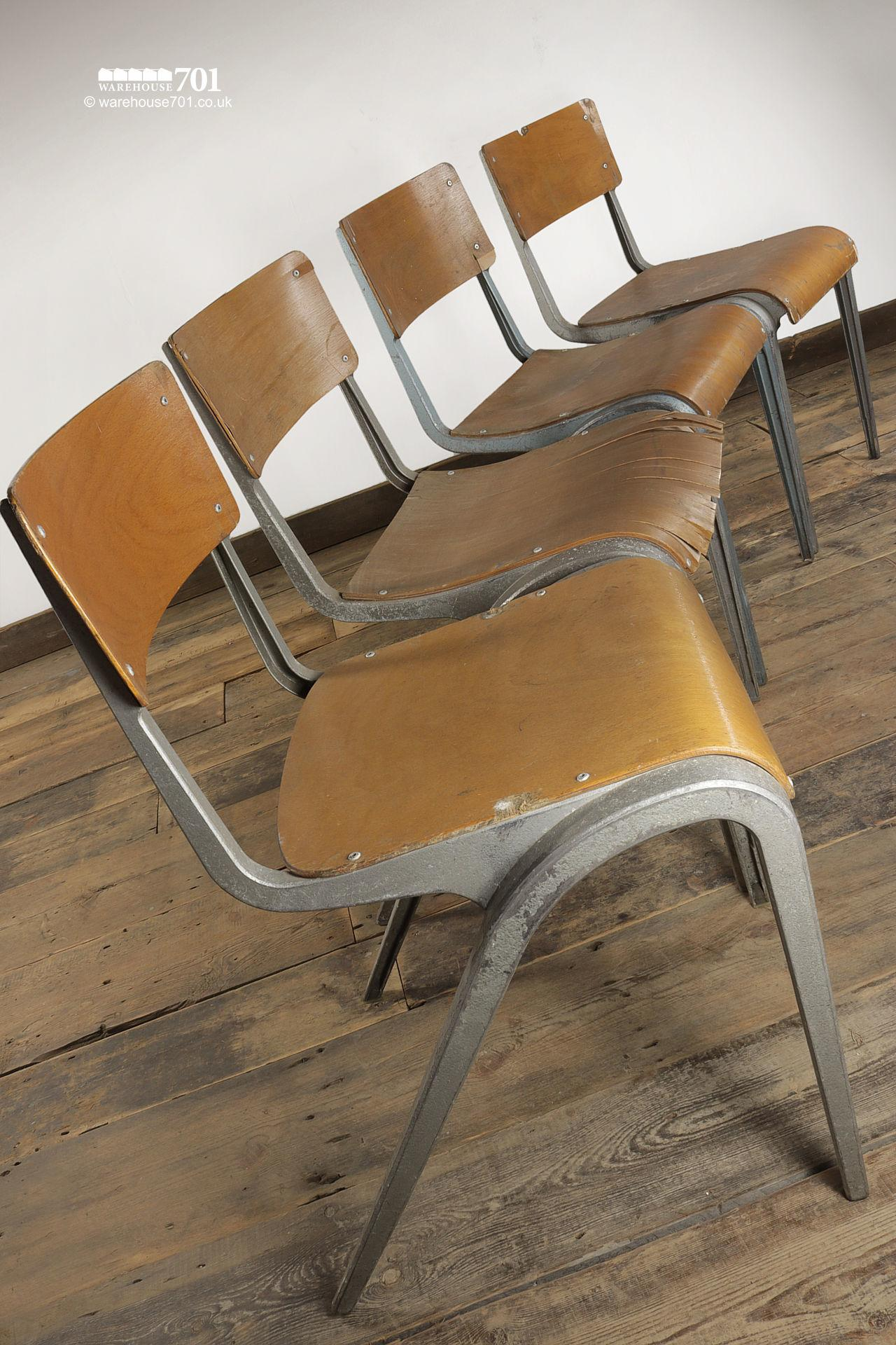 Vintage 1950s Esavian Alloy & Ply Stacking Chairs #4