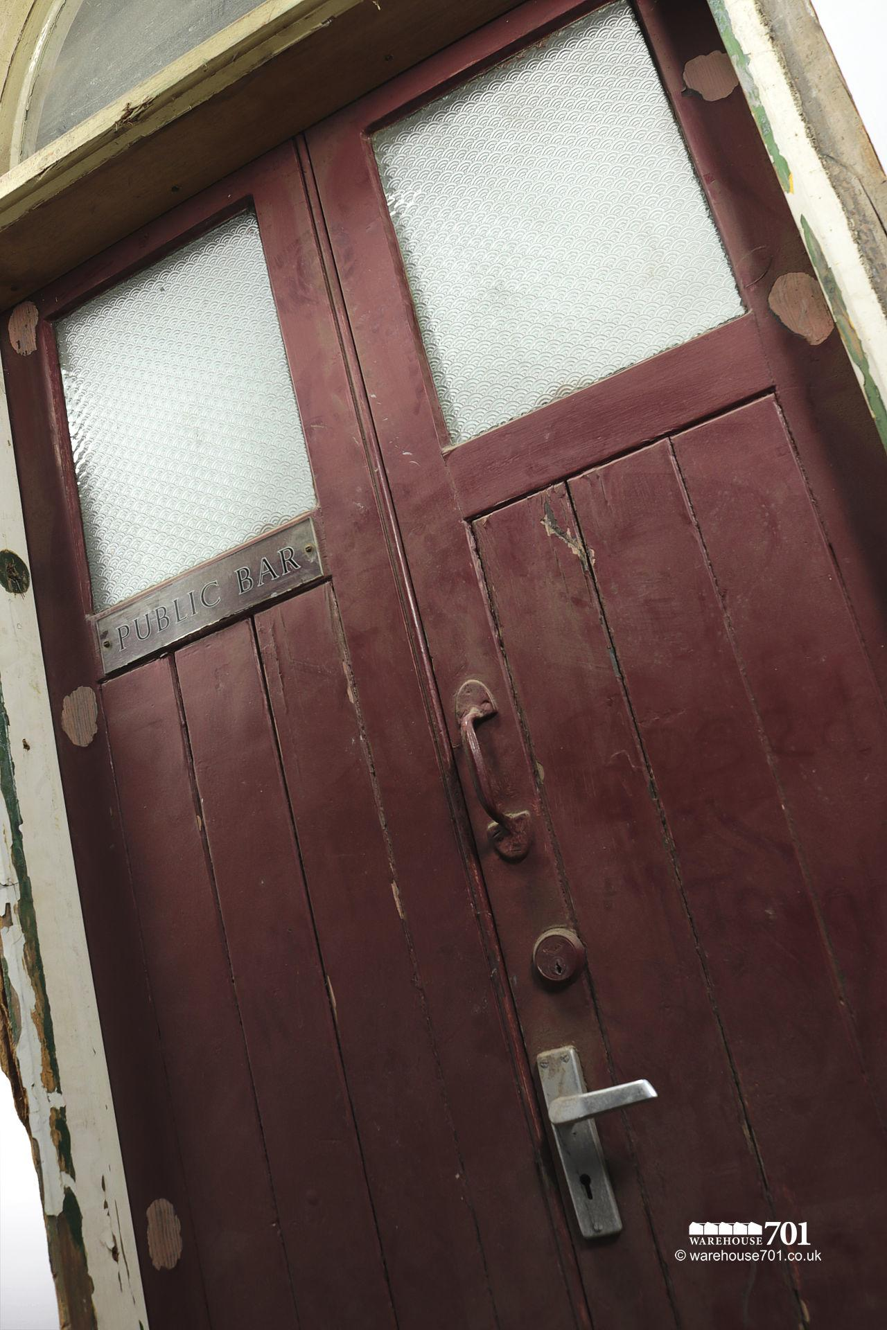 Salvaged Public House Red Doors with Frame and Fanlight #3