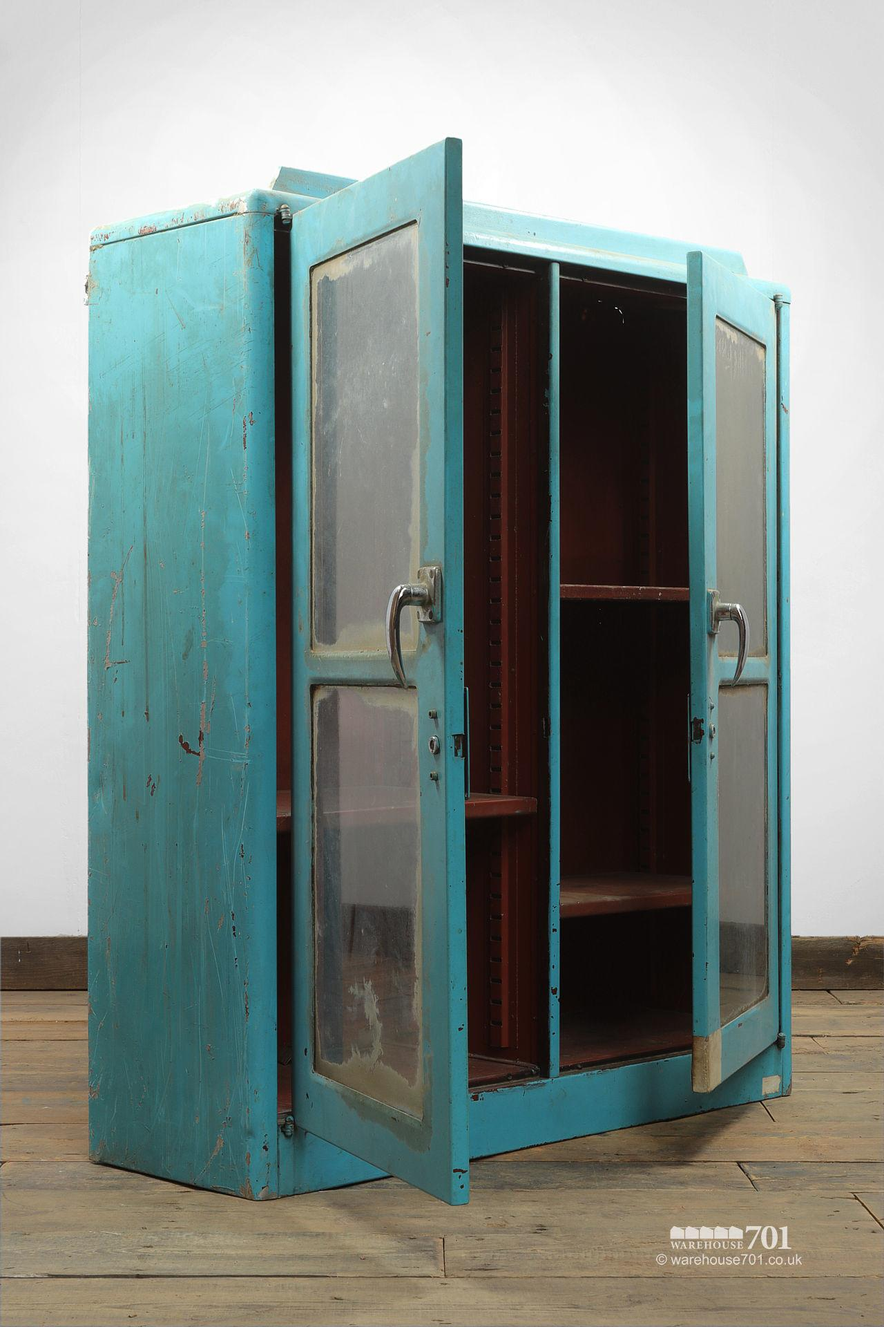 Salvaged Glazed Blue All-Metal Workshop Cabinet #2