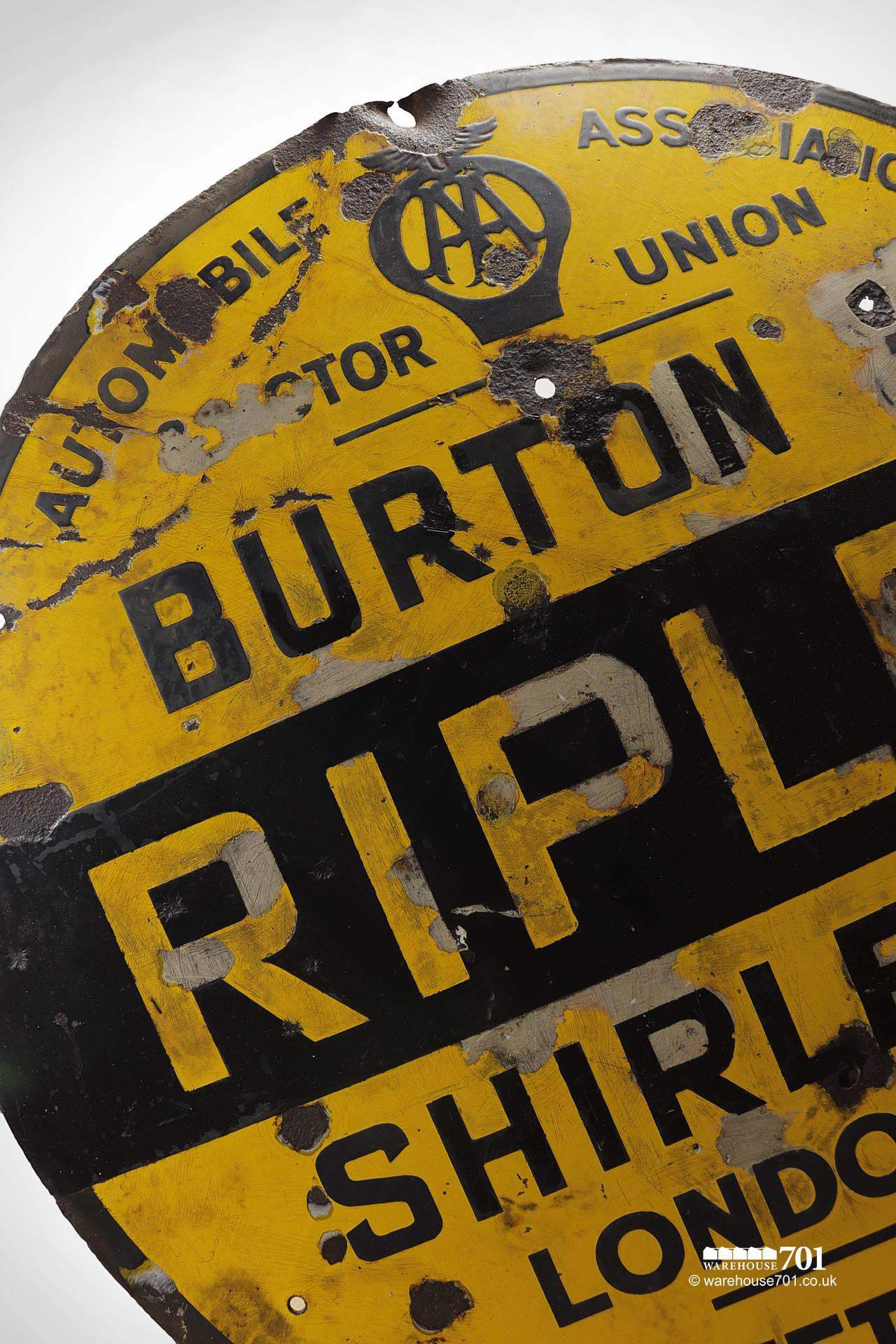 Rare Reclaimed Round Metal Yellow and Black Ripley AA and Motor Union Road Sign