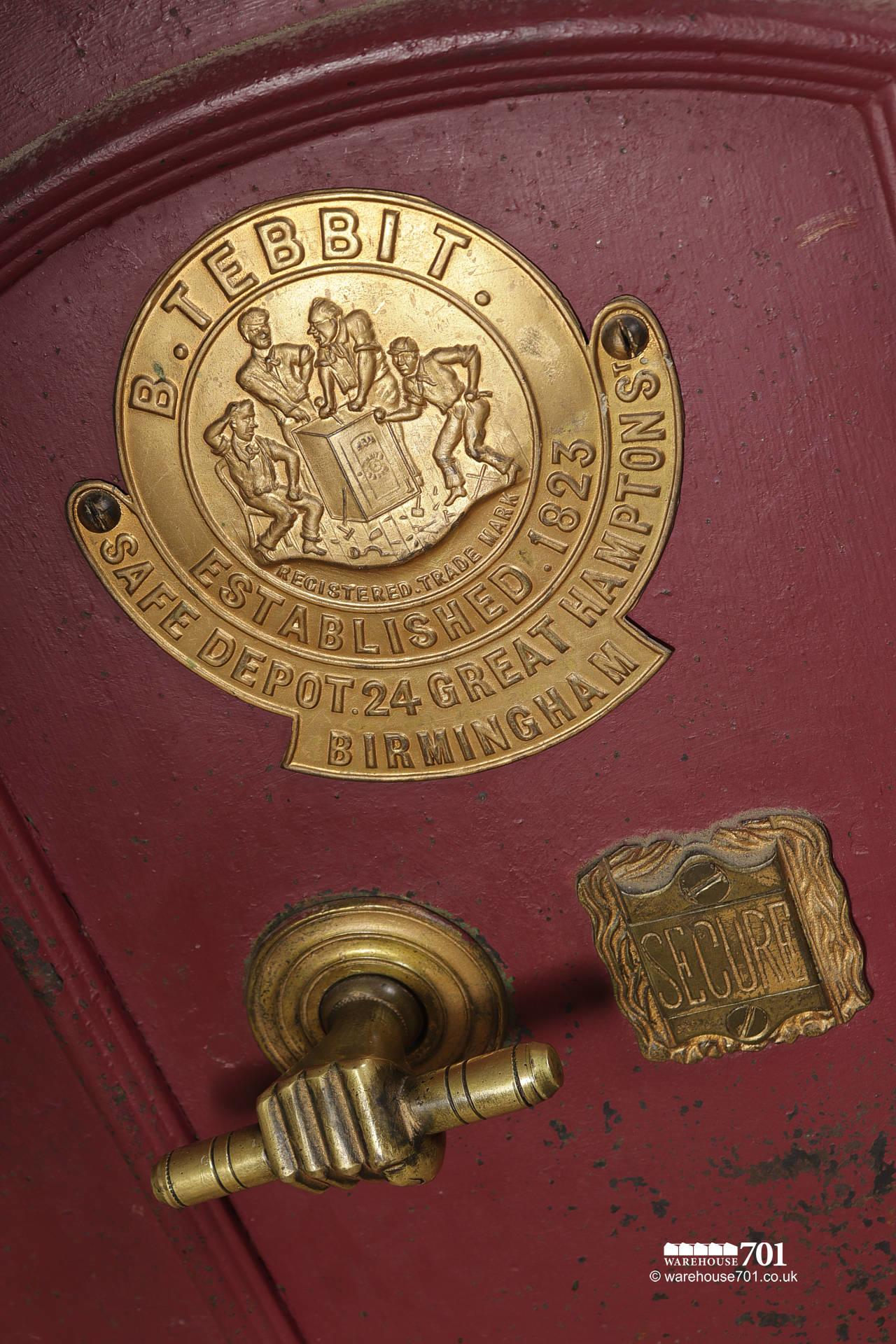 Salvaged Vintage Burgundy Red and Brass Safe by B.Tebbit of Birmingham #2