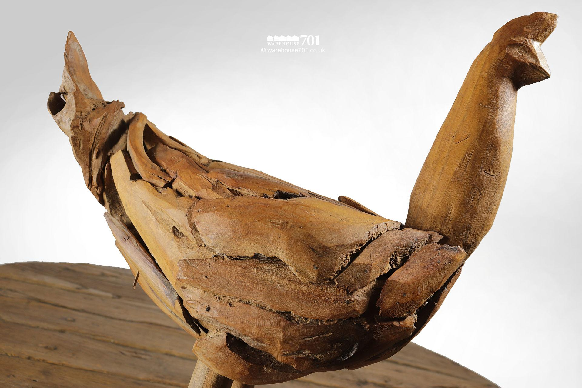 Reclaimed Drift Wood Style Sculpted Chicken, Cockerel or Rooster #4
