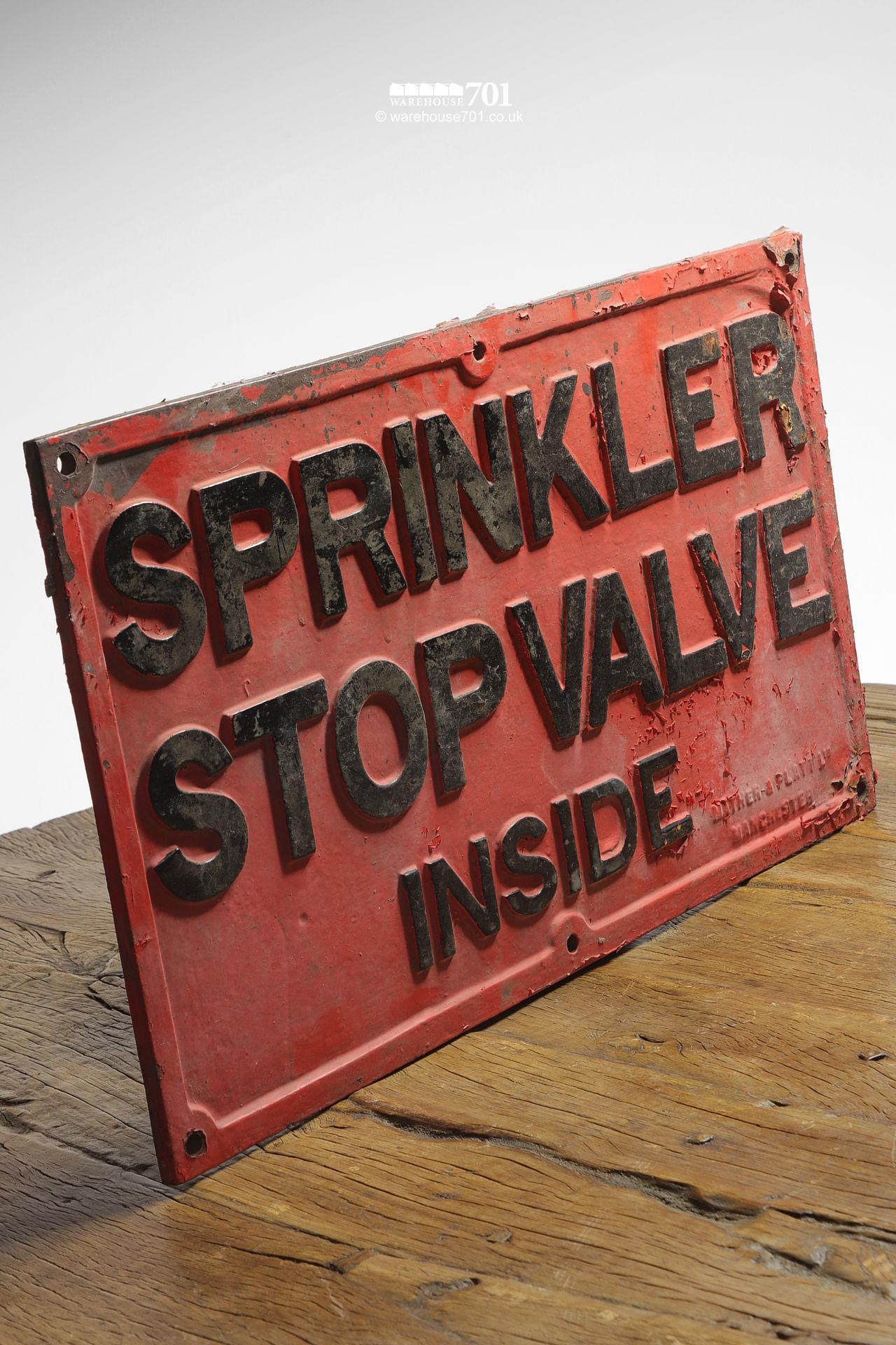 Reclaimed Red and Black Cast Iron Sprinkler Stop Valve Sign